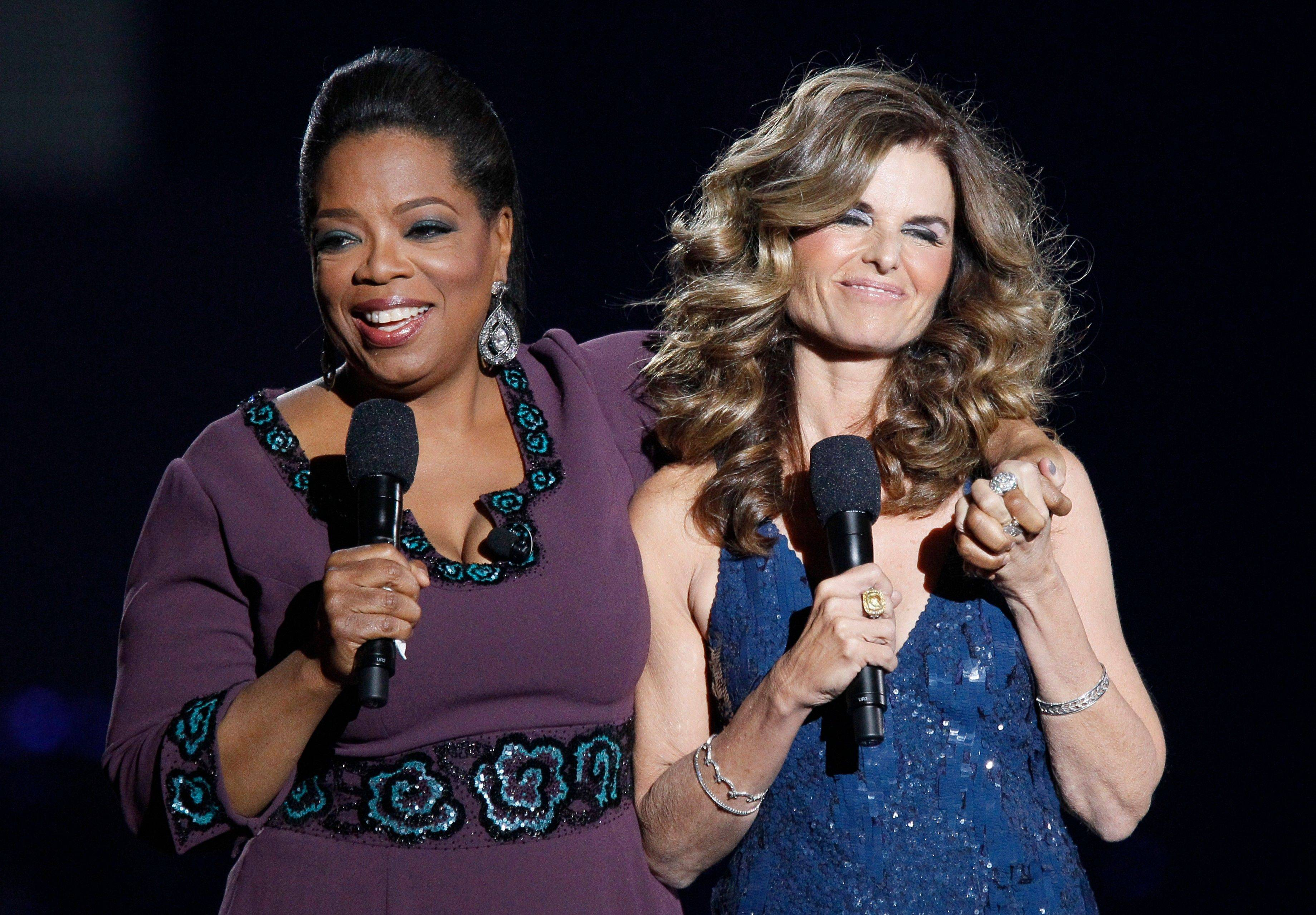 "Maria Shriver appears with Oprah Winfrey during a star-studded double-taping of ""Surprise Oprah! A Farewell Spectacular,"" Tuesday in Chicago. ""The Oprah Winfrey Show"" is ending its run May 25, after 25 years."