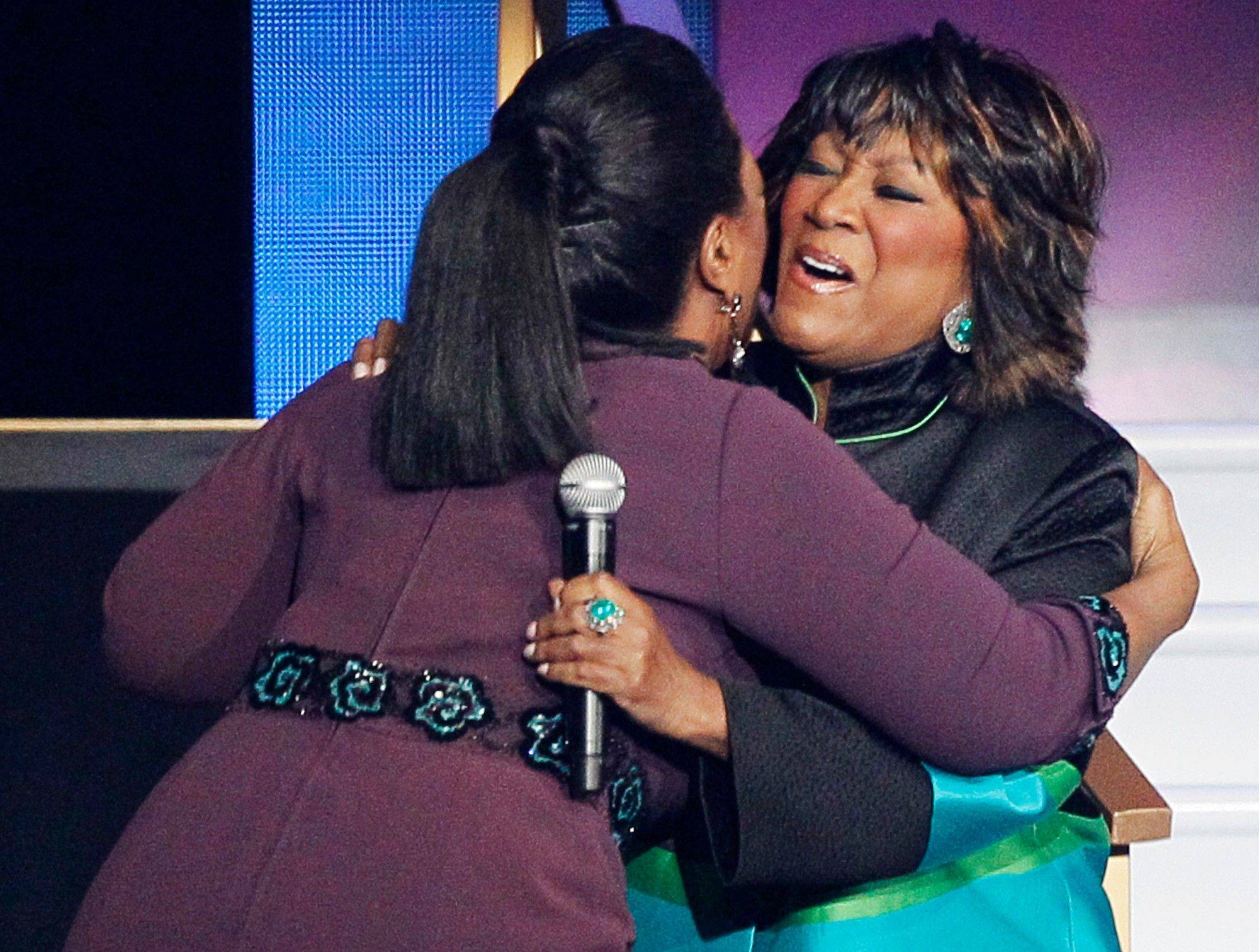 "Singer Patti LaBelle, right, hugs Oprah Winfrey as she appears during a star-studded double-taping of ""Surprise Oprah! A Farewell Spectacular."""