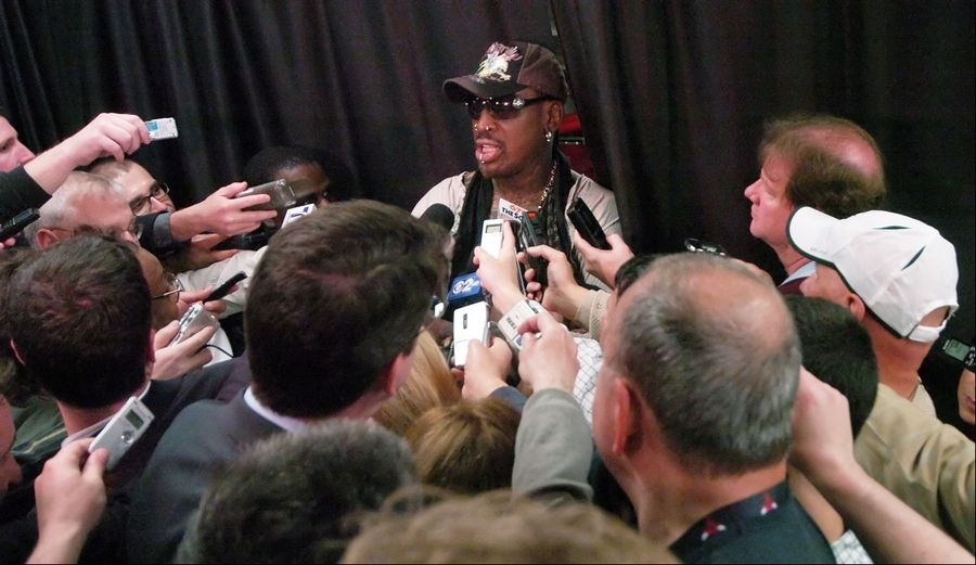 Former Bulls player Dennis Rodman speaks to the media prior to Game 2 of the NBA Eastern Conference finals at the United Center on Wednesday.