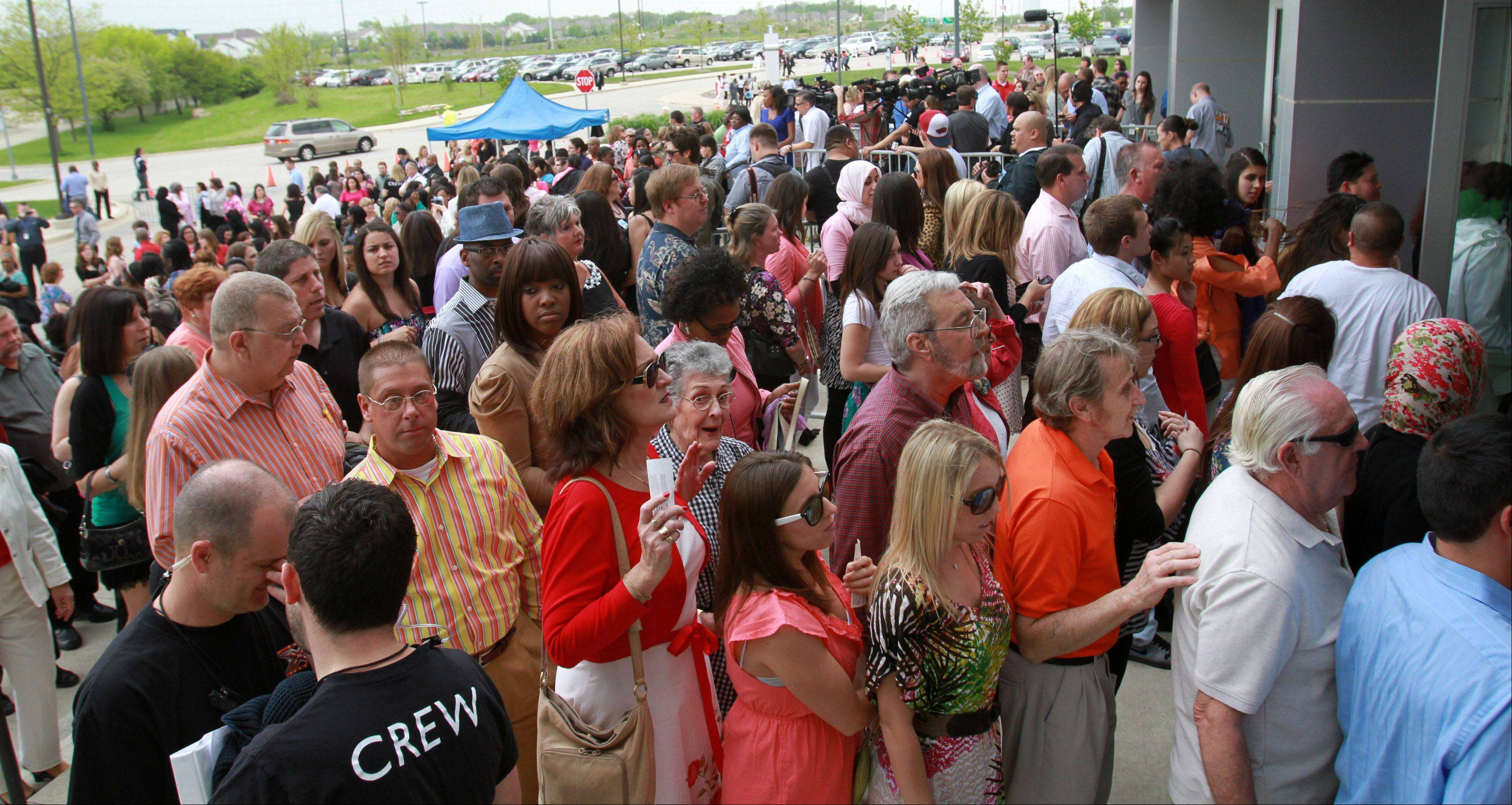 The X Factor fans line up outside the Sears Centre in Hoffman Estates for taping of the judges round for on Thursday, May 19th.