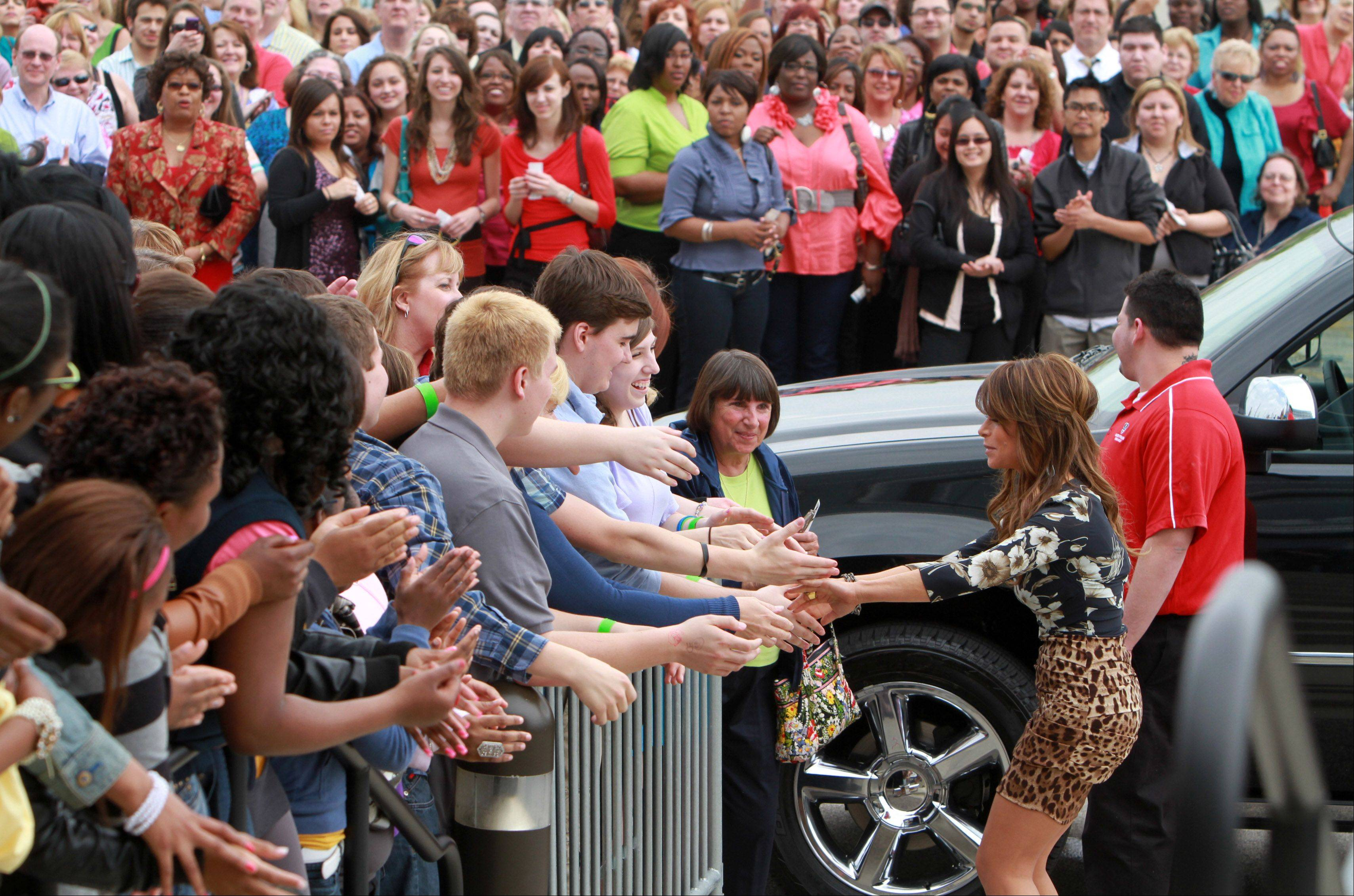 Paula Abdul arrives at the Sears Centre for taping of the judges round for The X Factor in Hoffman Estates on Thursday, May 19th.