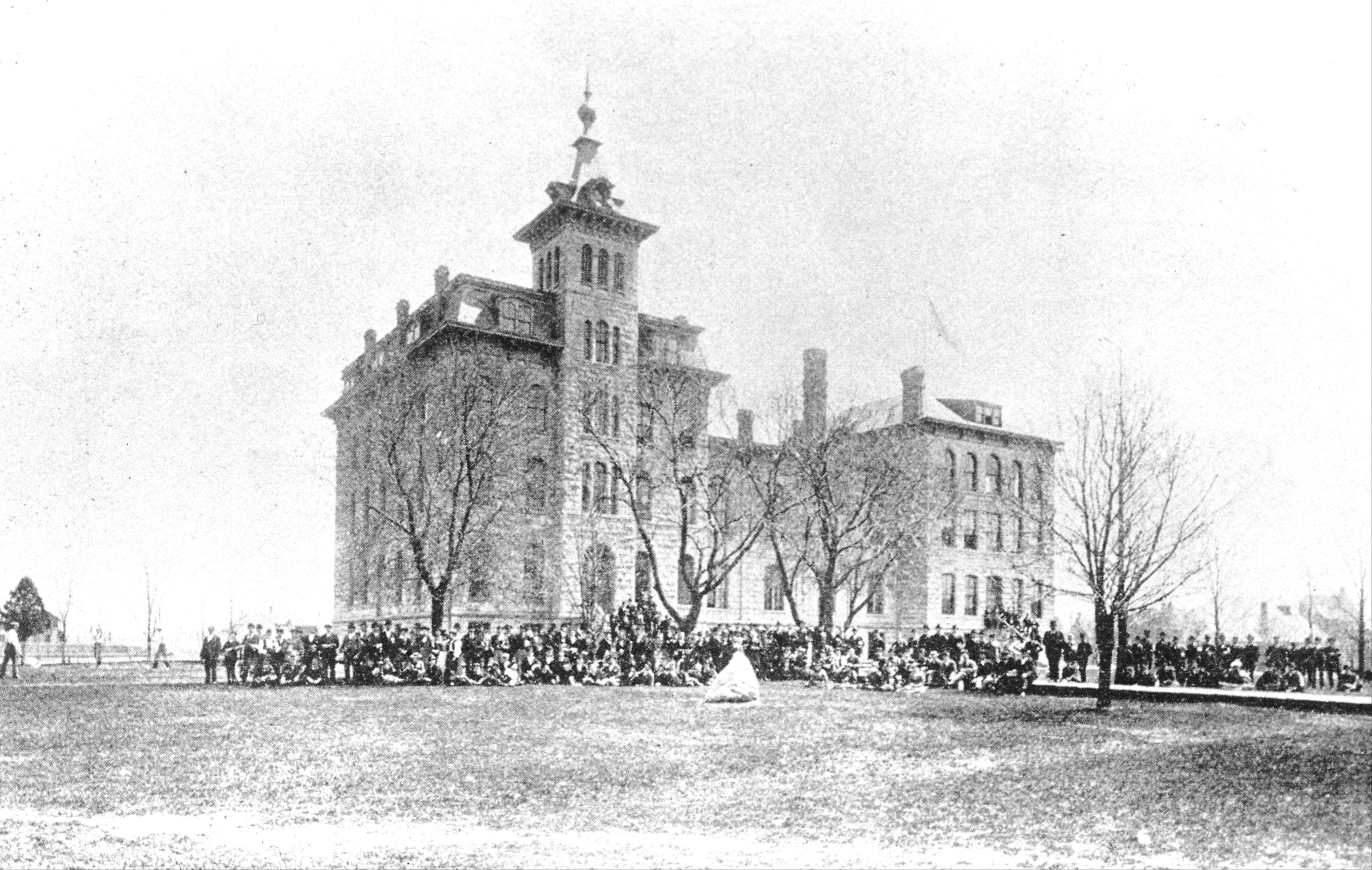 The south tower of Old Main was dedicated on Field Day, May 18, 1891.
