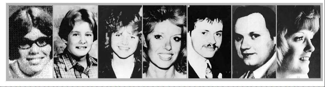 Tylenol victims Mary Reiner, Winfield; Mary Kellerman, 12, of Elk Grove Village; Theresa Janus, wife of Stanley, Lisle; Paula Prince, Chicago; Stanley Janus, brother of Adam, Lisle; Adam Janus, Arlington Heights; and Mary McFarland, Elmhurst.