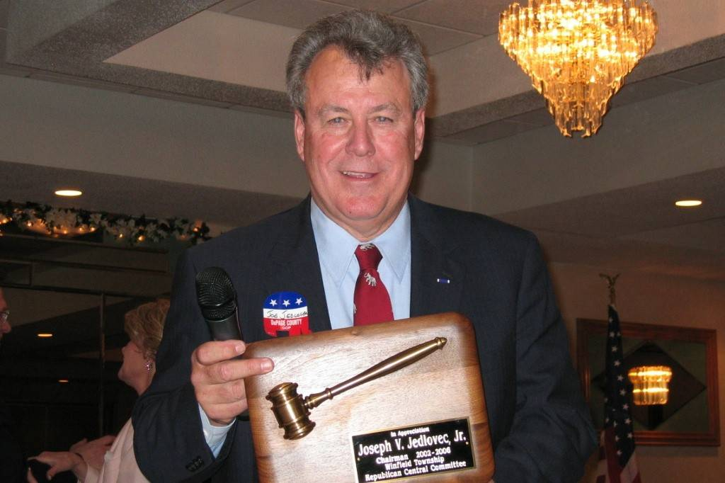 Joe Jedlovec shows off a plaque he received for his time as a Republican Central Committeman. Jedlovec will be honored for receiving the Bronze Star during an Armed Forces Day ceremony.