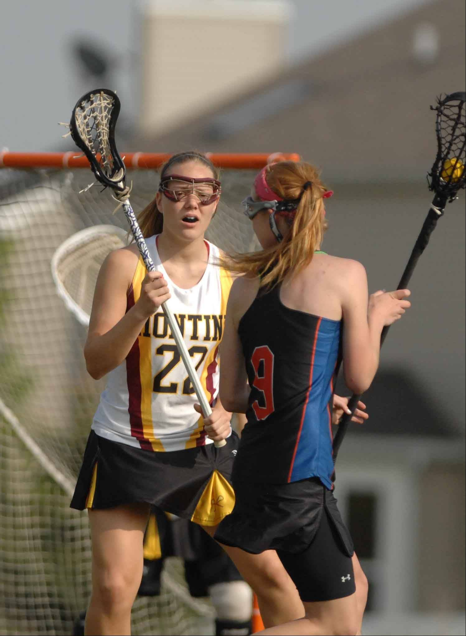 Wheaton vs. Montini girls sectional Lacrosse in Naperville Thursday.