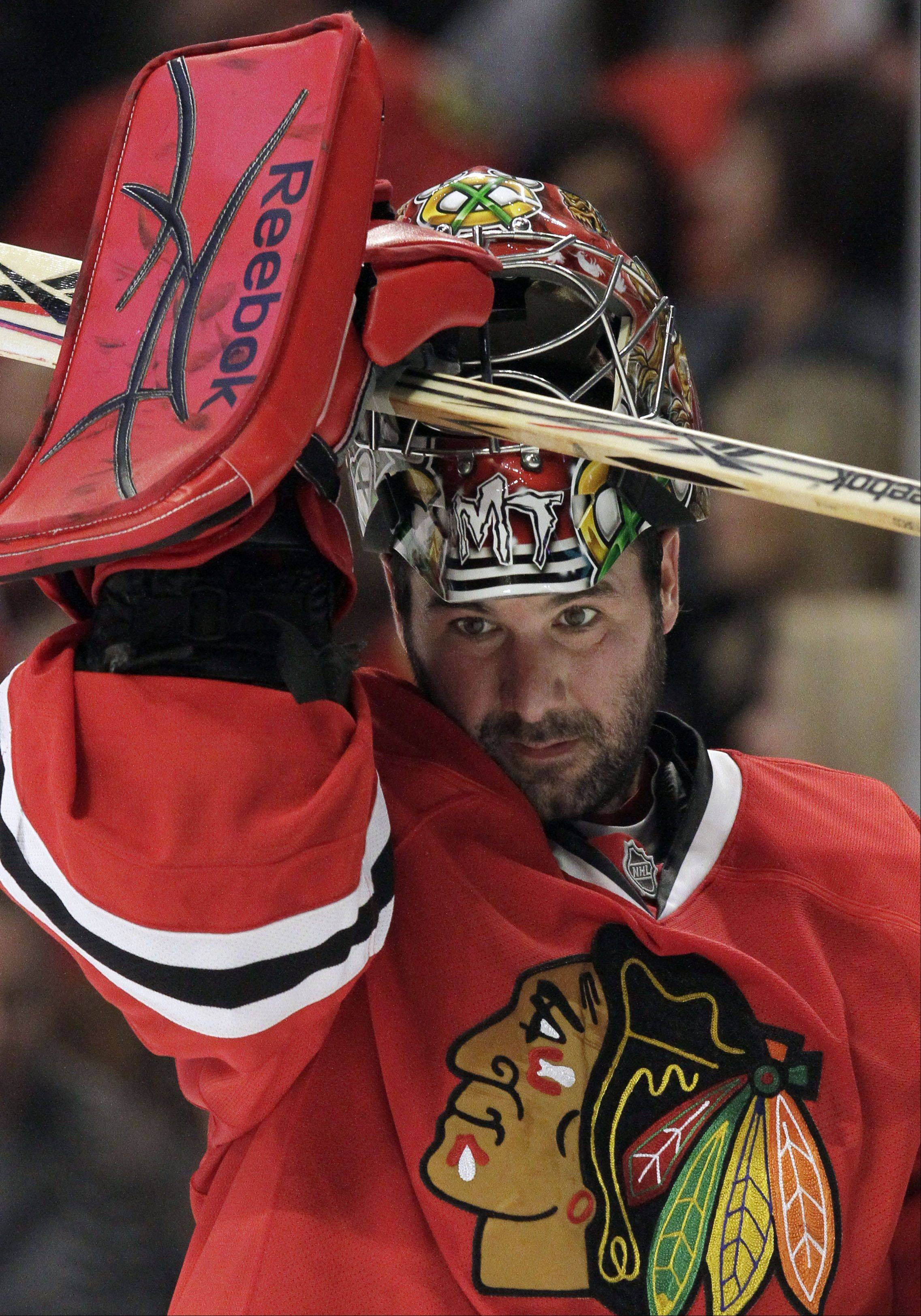 Although Blackhawks GM Stan Bowman praised goalie Marty Turco, above, for his professionalism and work with rookie Corey Crawford, it's likely Turco will try to play elsewhere next season.