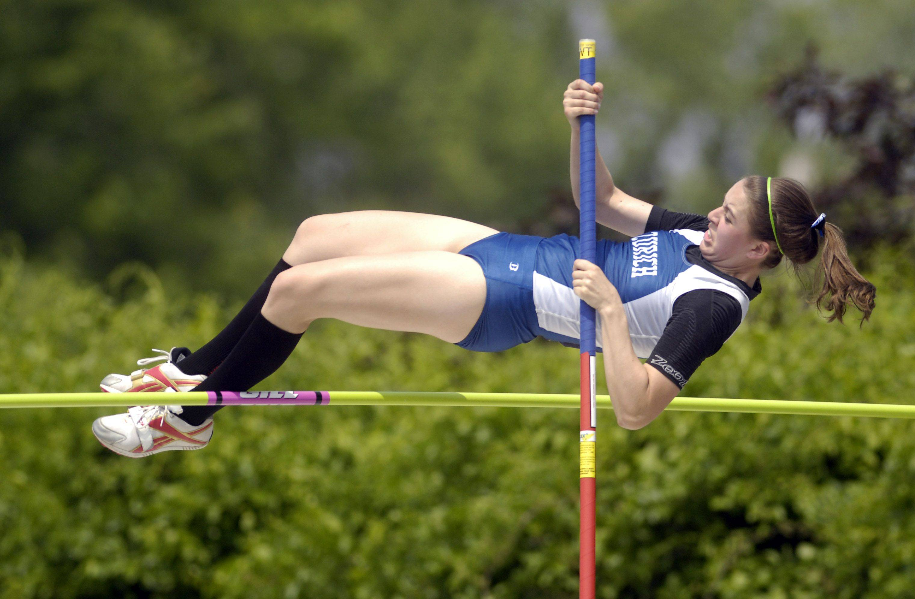 Lake Zurich's Emily Trittschuh competes in the pole vault during Friday's preliminaries of the IHSA girls state track finals in Charleston.
