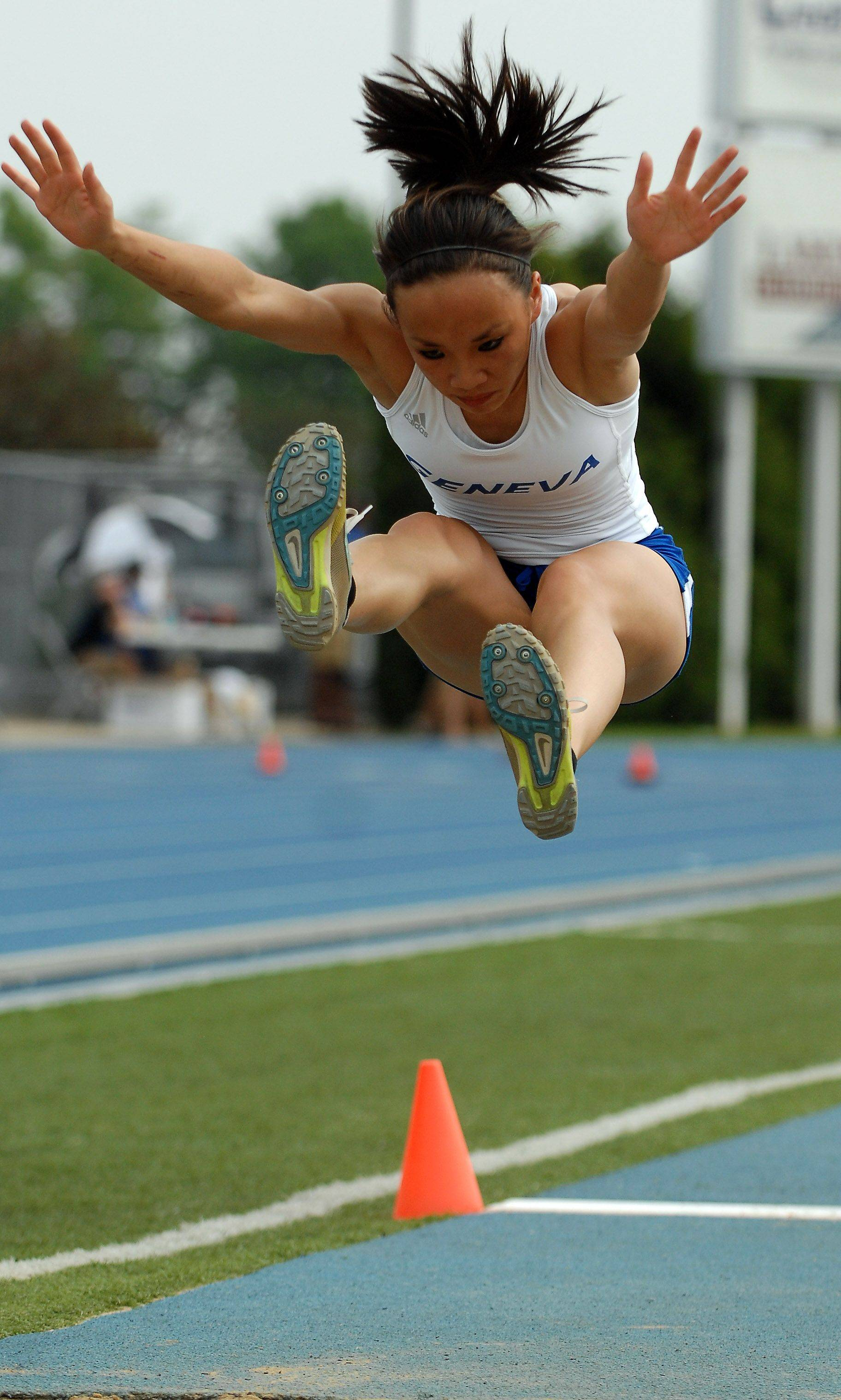 Geneva's Kailie Briza competes in the long jump during Friday's preliminaries.