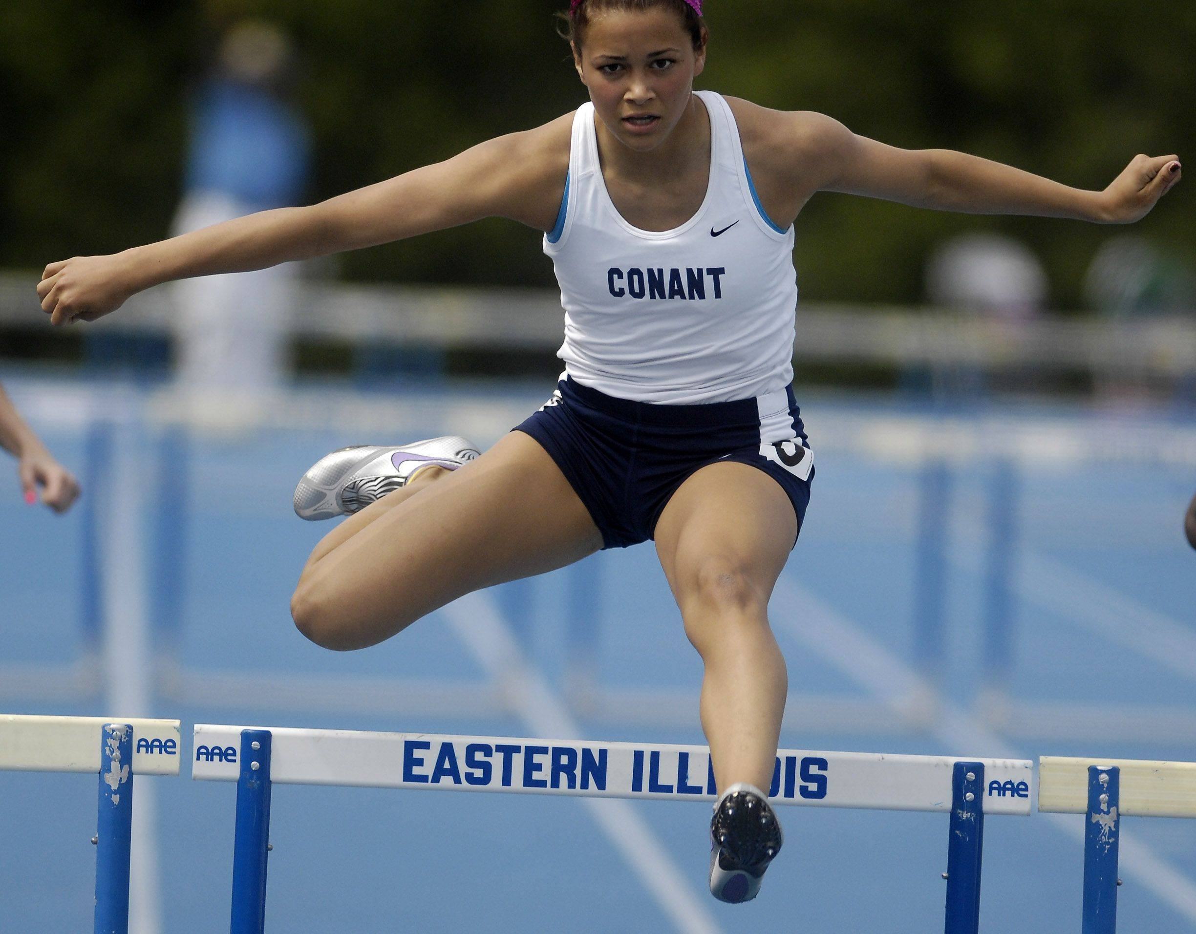 Conant's Sarah Gorden wins her heat of the 300-meter low hurdles during Friday's preliminaries of the IHSA girls state track finals.