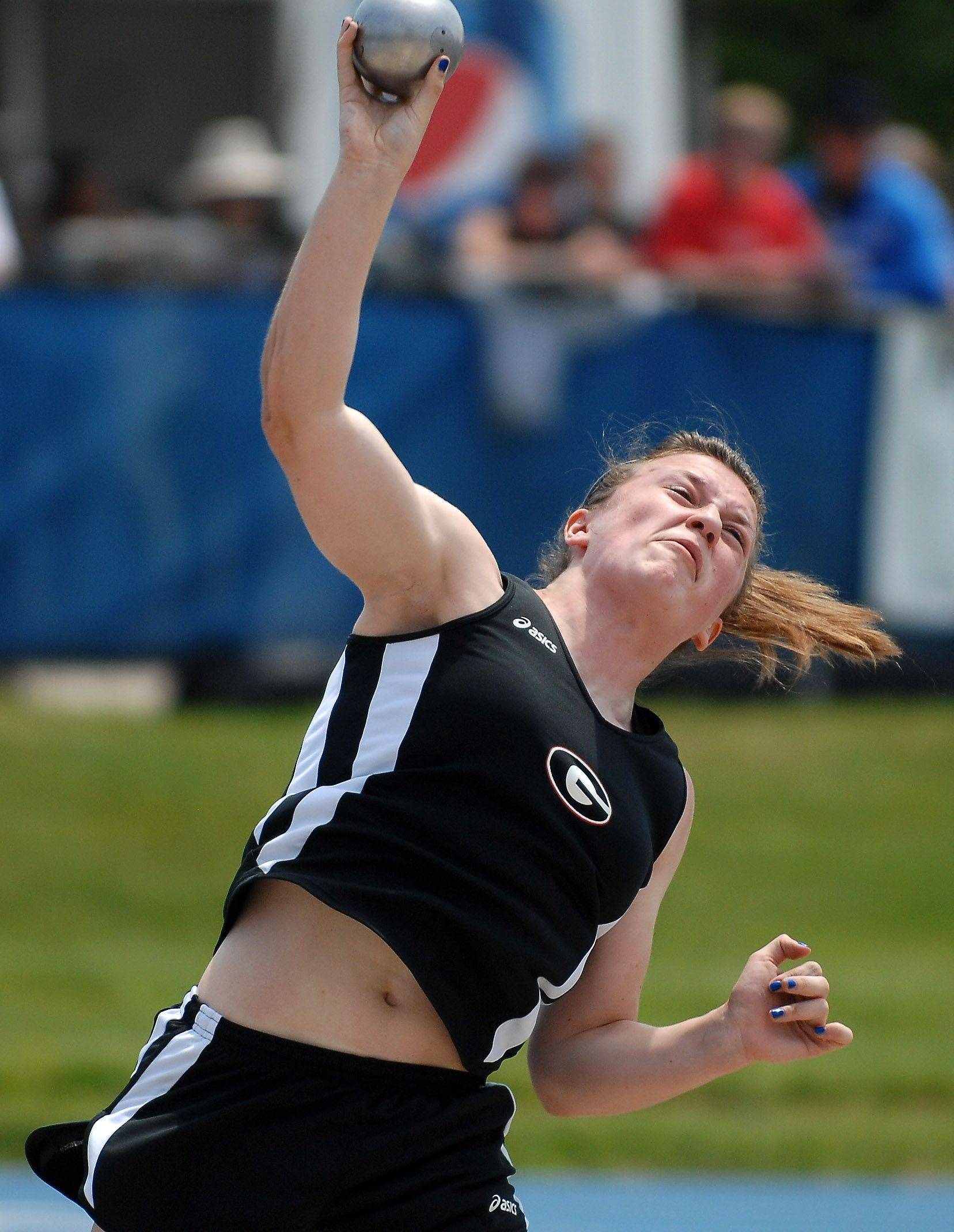 Grant's Melissa Dunham puts the shot during Friday's preliminaries of the IHSA girls state track finals.