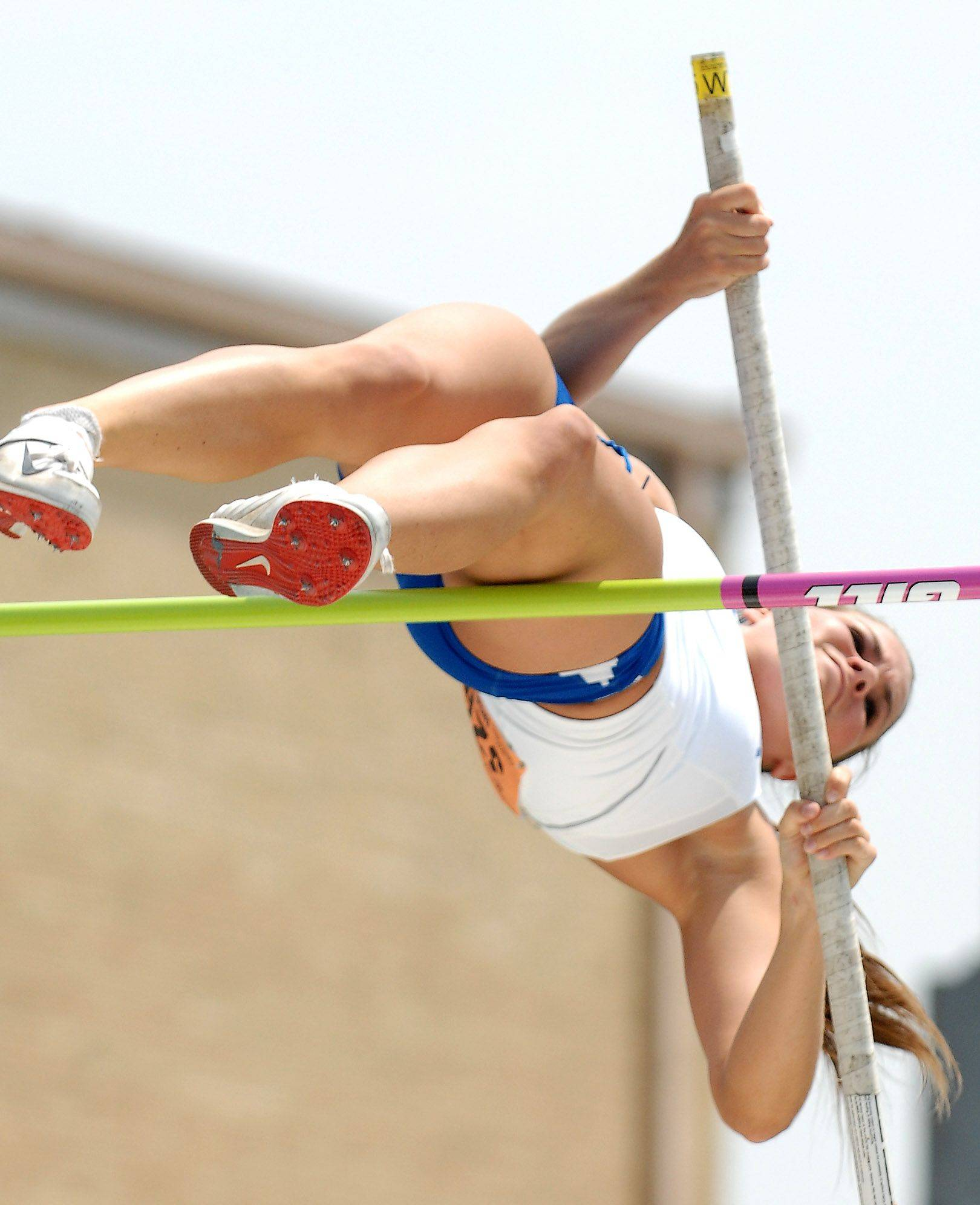 Geneva's Erin Kluck competes in the pole vault Friday in Charleston.