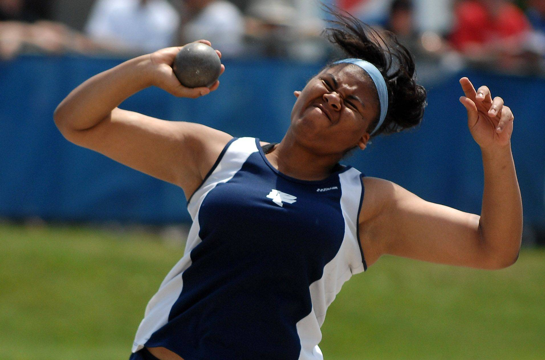 Lake Park's Shayna Clark puts the shot during Friday's preliminaries in Charleston.