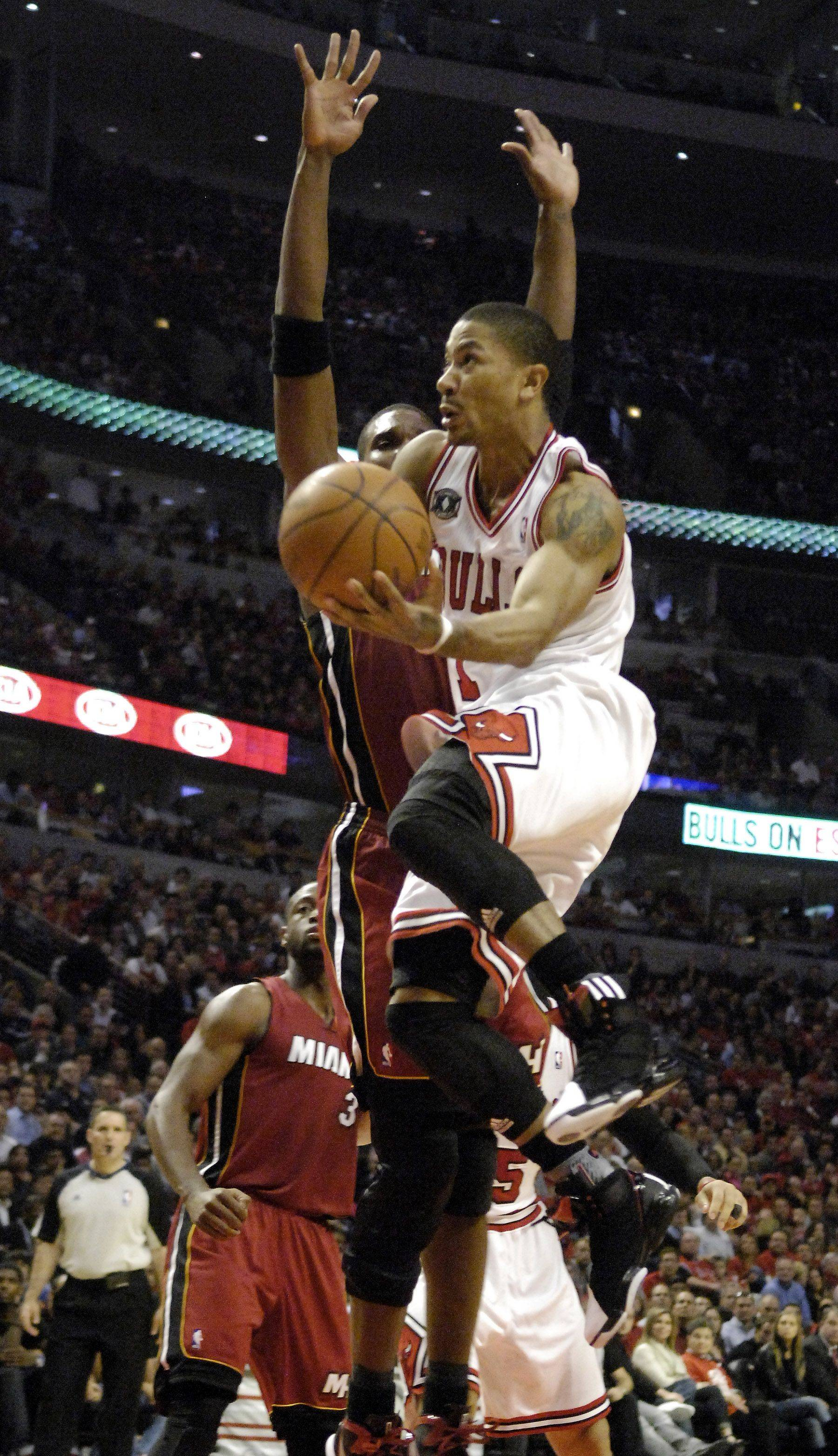 Derrick Rose will be looking to more aggressively push the tempo for the Bulls in Game 3 at Miami.