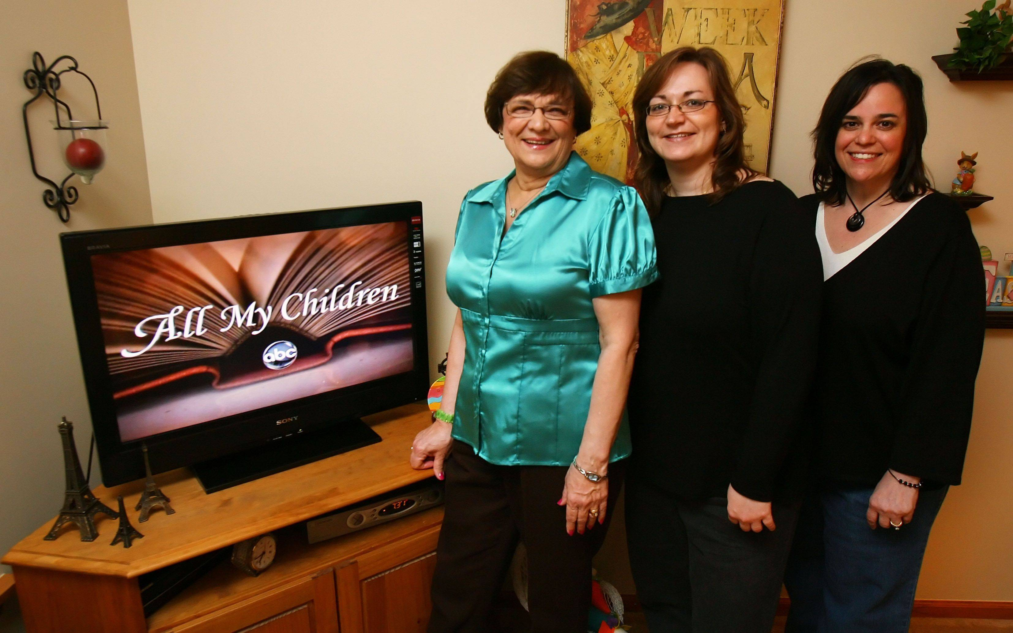 "From left, Patricia Dedinas, of Antioch, her daughter Diana Fitzgerald of Gurnee, and Diana's best friend Michelle DeBaere of Kenosha, Wis., are all lifelong ""All My Children"" fans. Since the network announced it was canceling the long-running soap opera, they've boycotted ABC and are frantically emailing and calling other networks in hopes that they'll pick up the show."