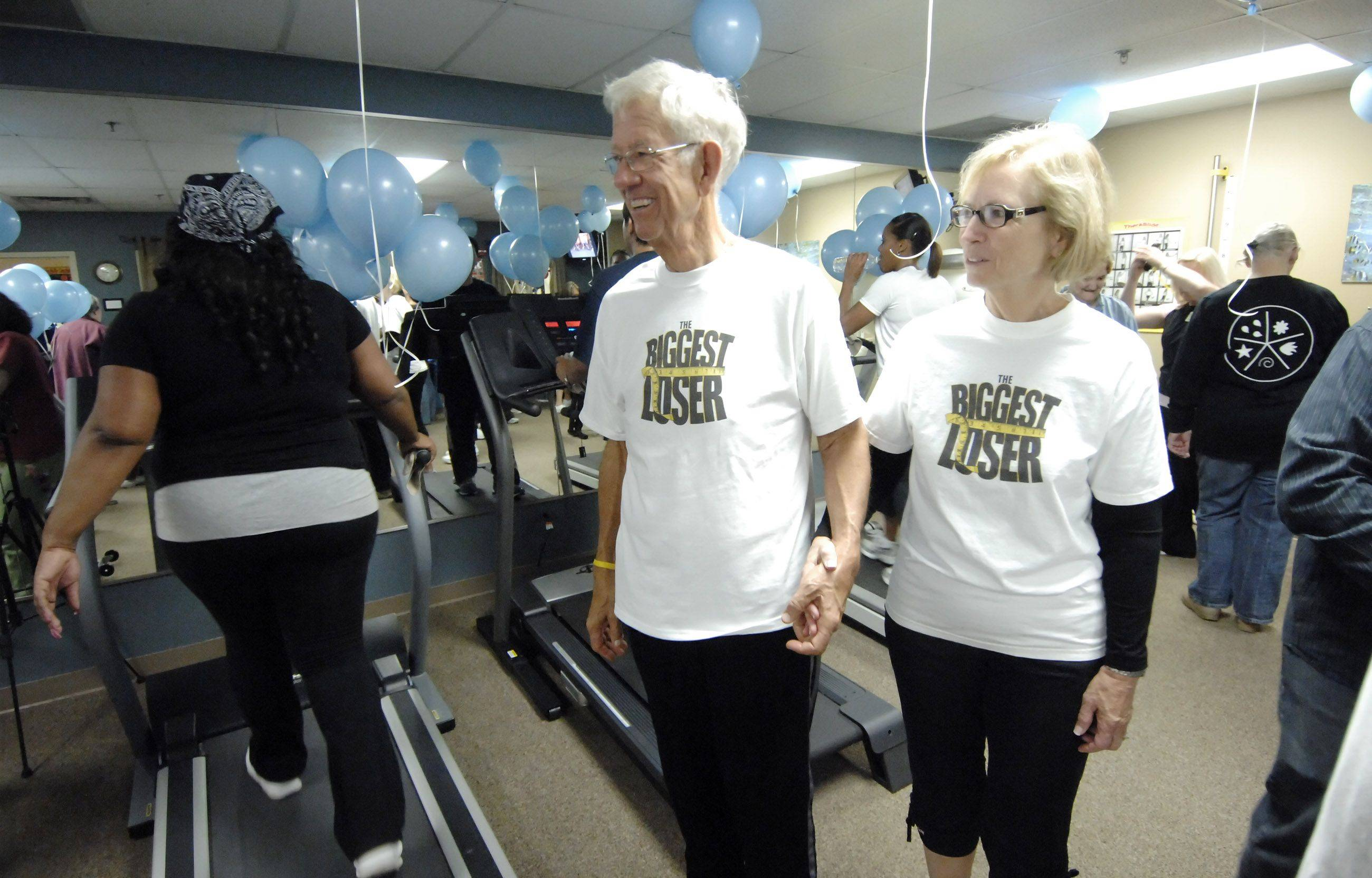 """Biggest Loser"" winners Jerry Hayes, of Wheaton, and his wife Estella have been able to keep the extra pounds off and have inspired other residents to get in shape."