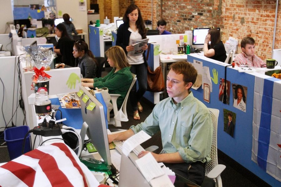 The Research and Strategy Team at LivingSocial's offices in Washington works in cramped spaces, something common with daily deal Web sites.