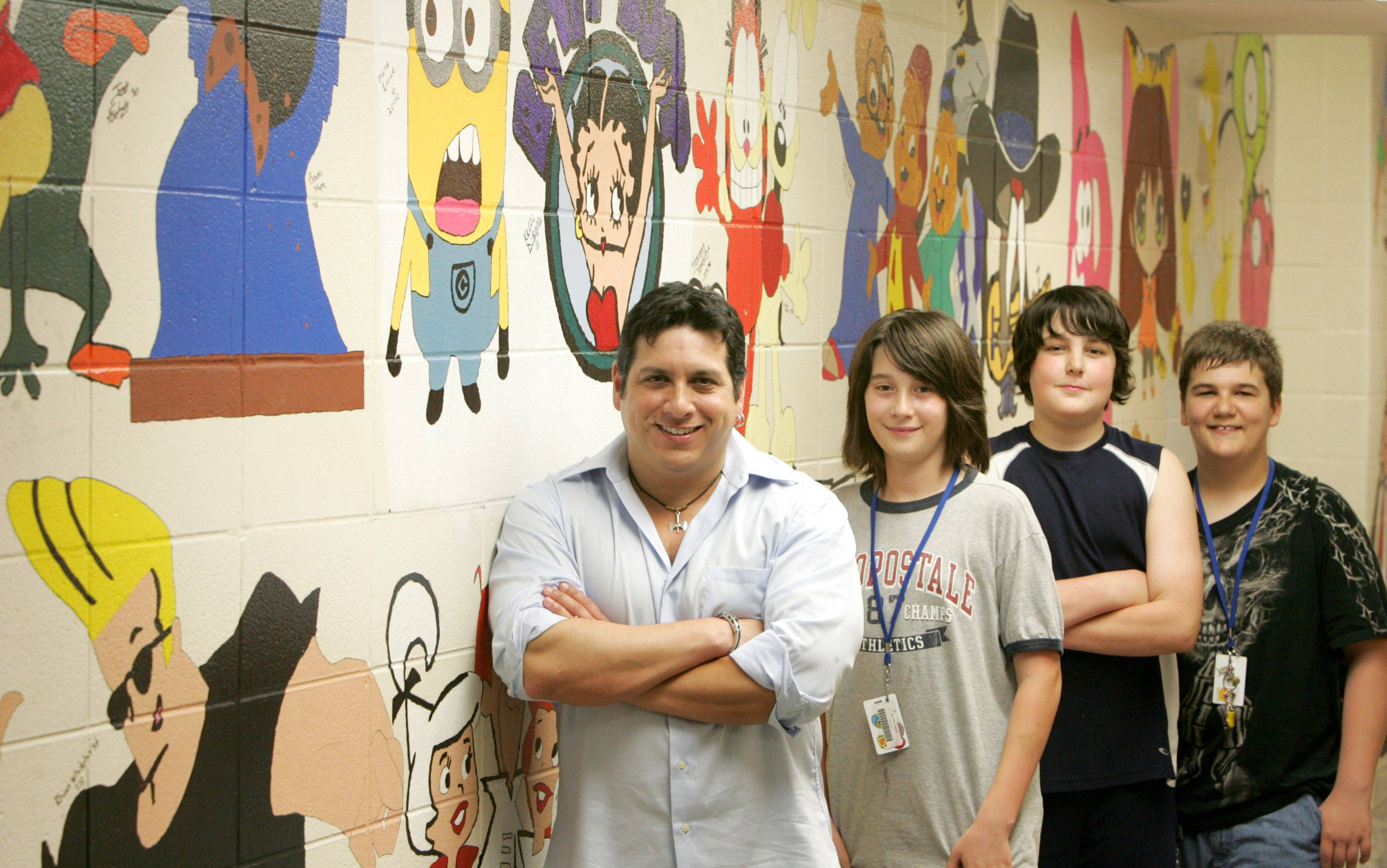 "Industrial Arts teacher Gary Lopez, left, is a favorite of Jefferson Middle School students Joshua Bay, Christopher Roder and Austin Floistad. ""He is truly an extraordinary teacher who is also funny and nice but firm when he needs to be,"" Christopher wrote."