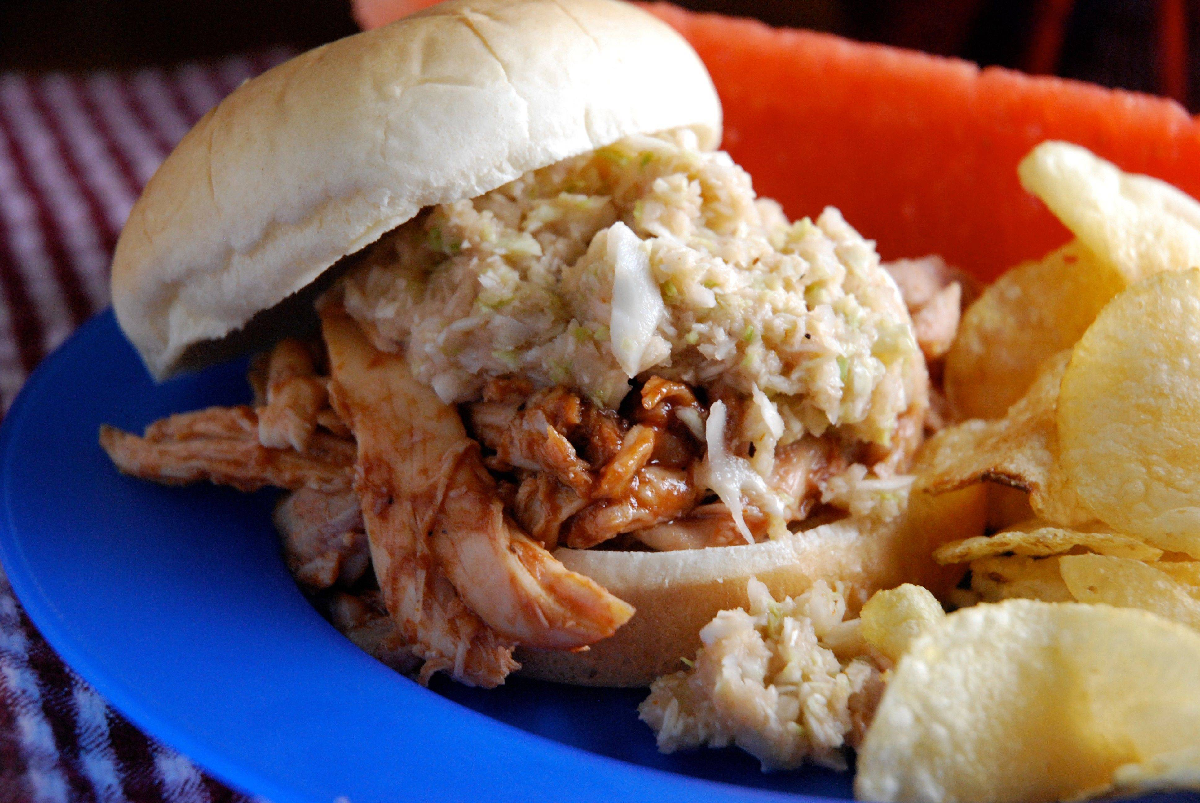 Barbecued Pulled Chicken sandwiches are perfect for a Memorial Day gathering when you don't want to get out the grill.