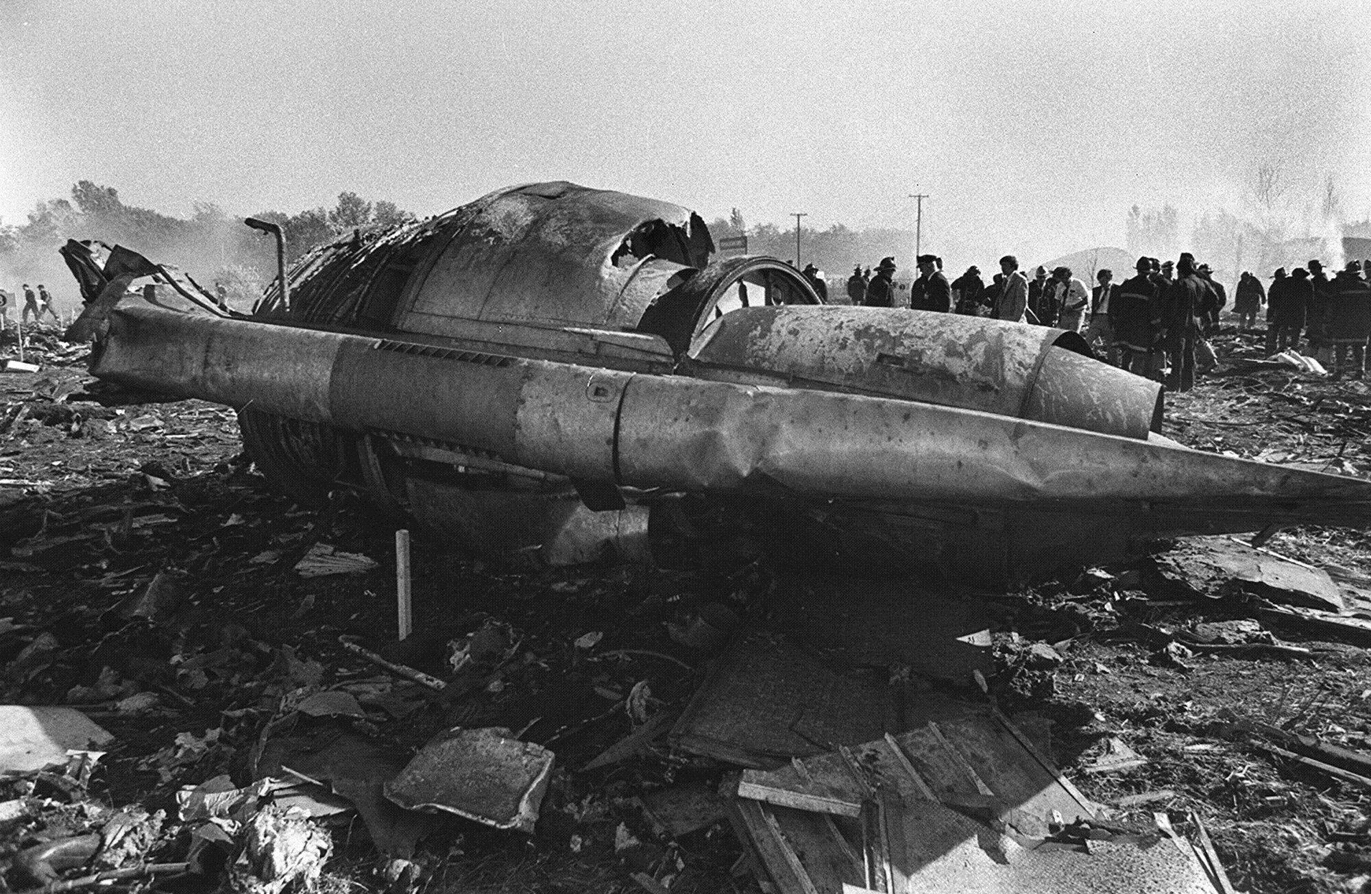 The scene at the crash of flight 191 on May 25, 1979