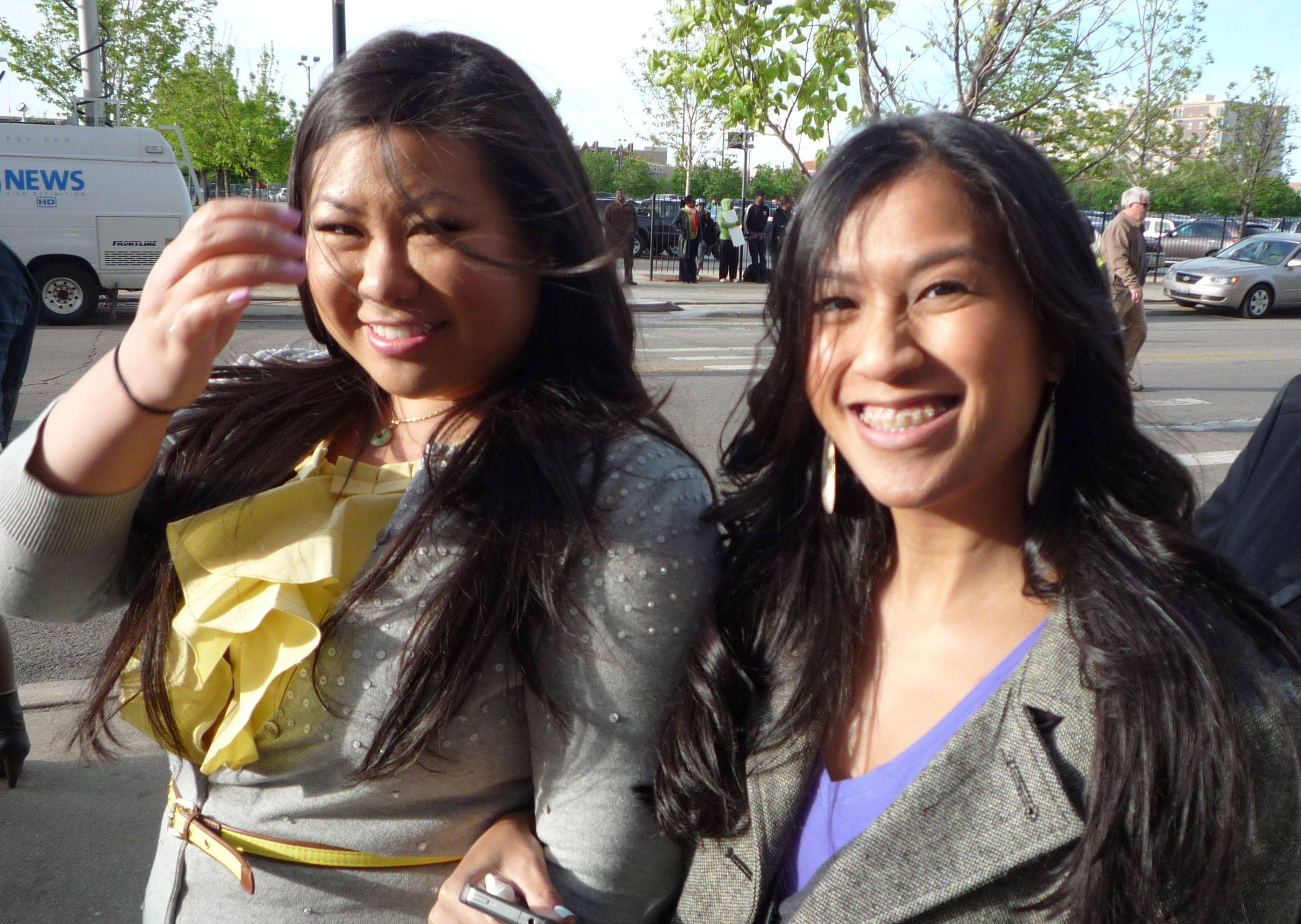Tran Nguyen, left, 26, of Chicago and Angela Niu-Diep, 26, of Palatine