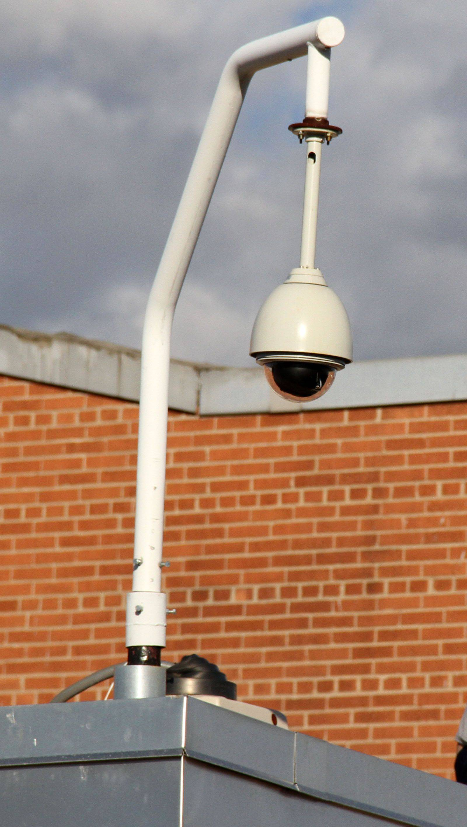 Live video from security cameras like this one on the roof of Prospect High School could be accessed by police officers using smartphones as part of a $1 million upgrade planned by Northwest Suburban High School District 214. The district hopes to fund half the project with a federal grant.