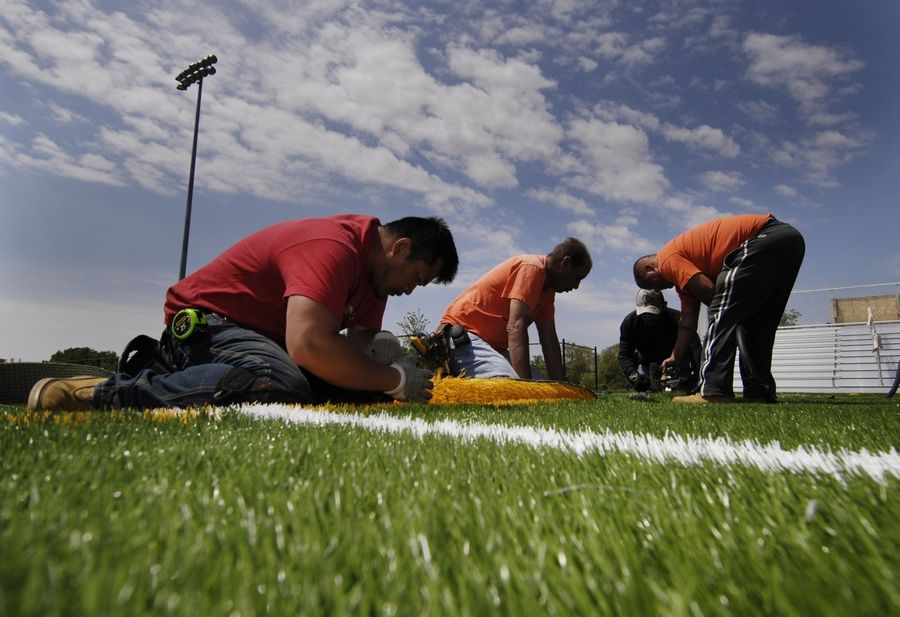 More than 111,000 square feet of artificial turf has been sewn into place at the renovated Nike Sports Complex in Naperville.