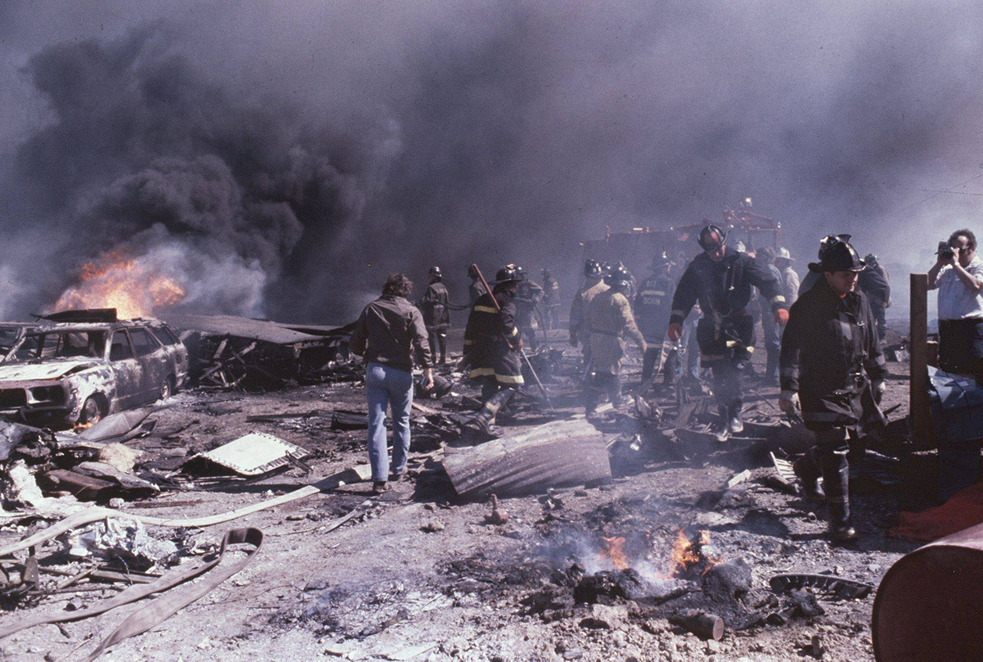 This is the scene at the crash site where American Airlines Flight 191 went down on May 25, 1979. All 271 passengers and crew members were killed, as well as two other people on the ground.