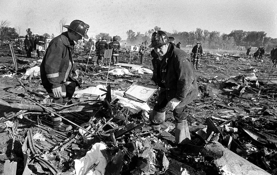 This is the scene at the crash site of American Airlines Flight 191 on May 25, 1979.