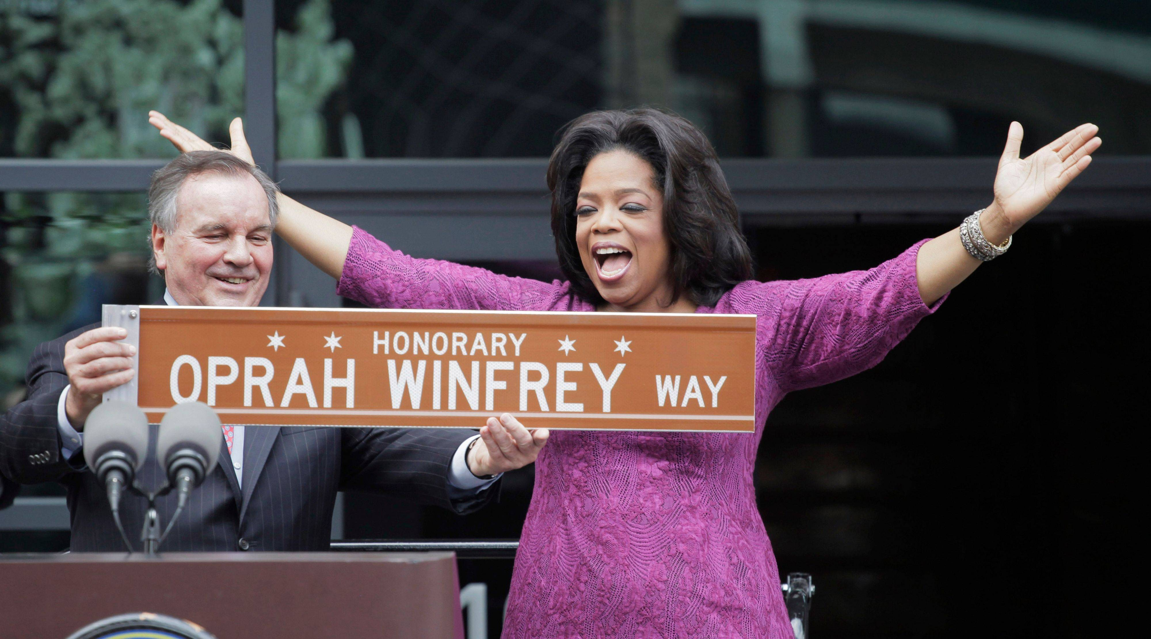 Even when she leaves, Oprah Winfrey won't be gone. In one of his last acts before leaving office, Chicago Mayor Richard M. Daley presented the TV talk-show host a sign after a street was named in her honor outside her Harpo Studios.