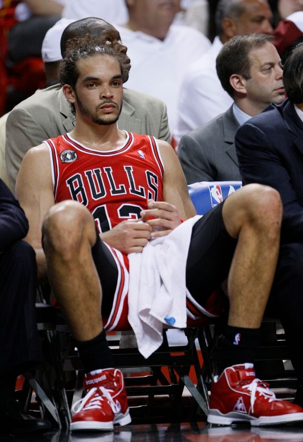 Chicago Bulls' Joakim Noah sits on the bench during the second half against the Miami Heat during Game 4 of the NBA basketball Eastern Conference finals, Tuesday, May 24, 2011. The Heat defeated the Bulls 101-93 in overtime.