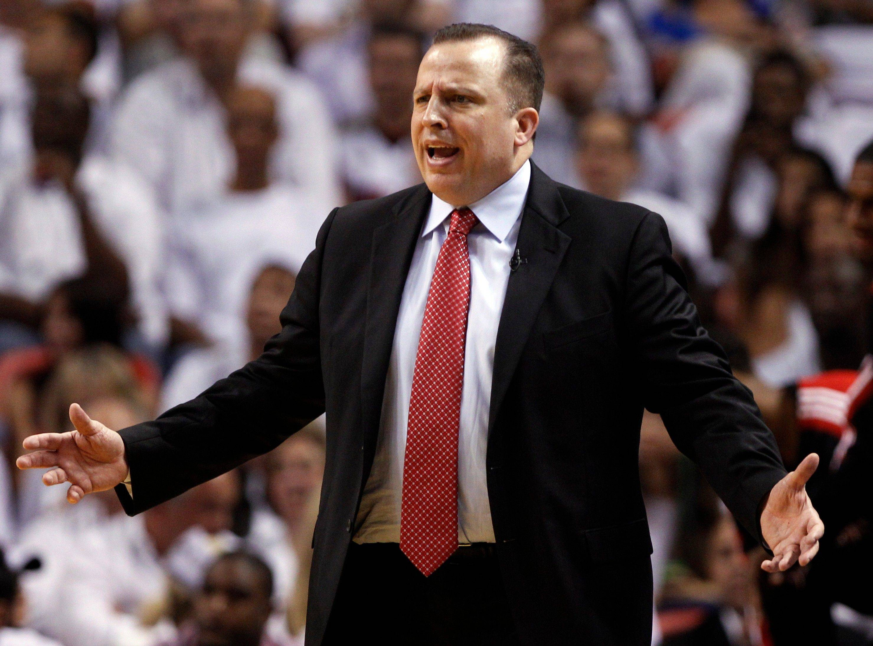 Chicago Bulls head coach Tom Thibodeau gestures to his team during the first half of Game 4 of the NBA Eastern Conference finals basketball series against the Miami Heat in Miami, Tuesday, May 24, 2011.