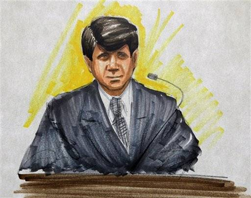 In this courtroom sketch, former Illinois Gov. Rod Blagojevich, takes the witness stand in his second corruption trial, Thursday
