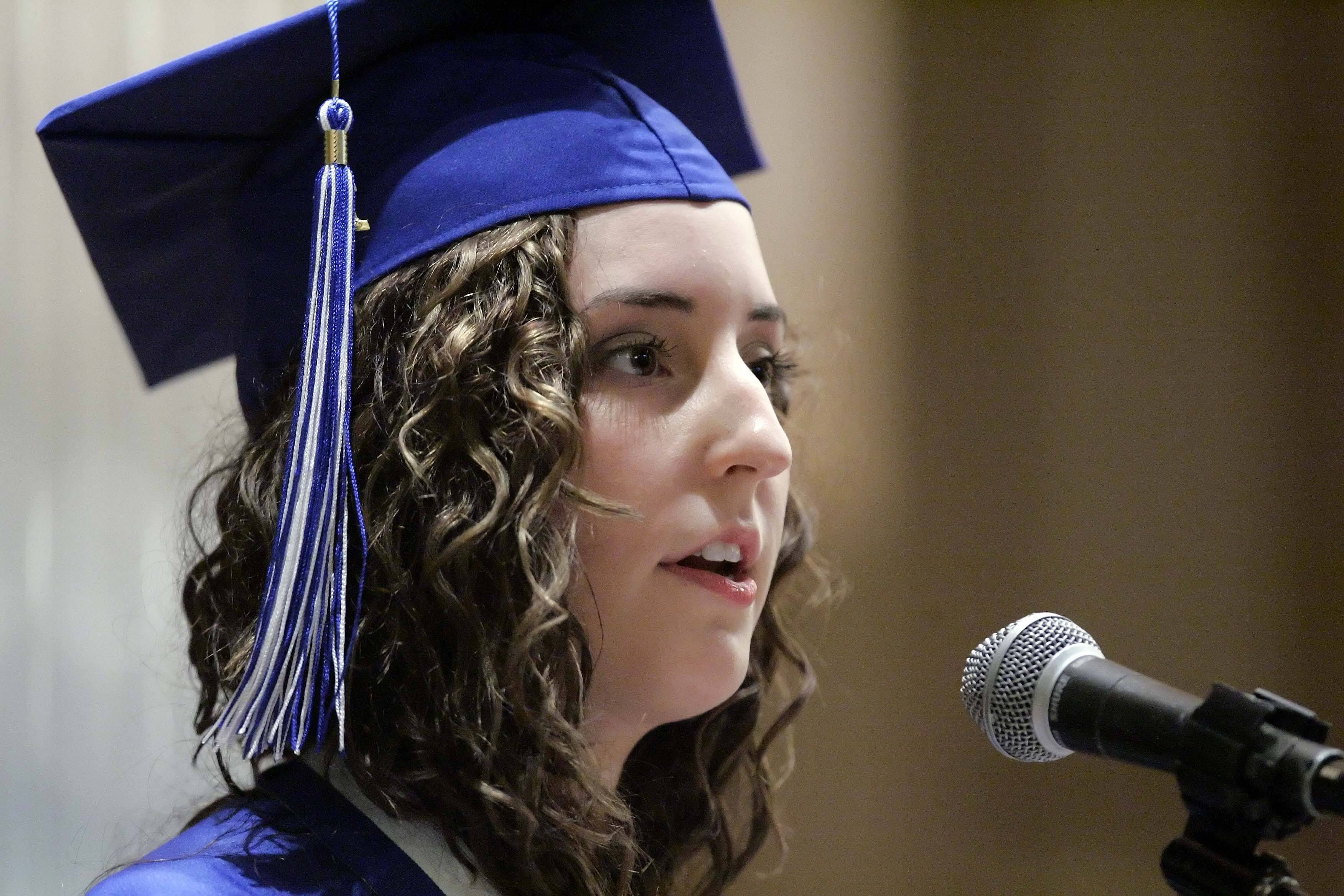 Sarah McIntire gives the senior address during the Westminster Christian High School graduation Friday, May 27, 2011 at the Elgin school.
