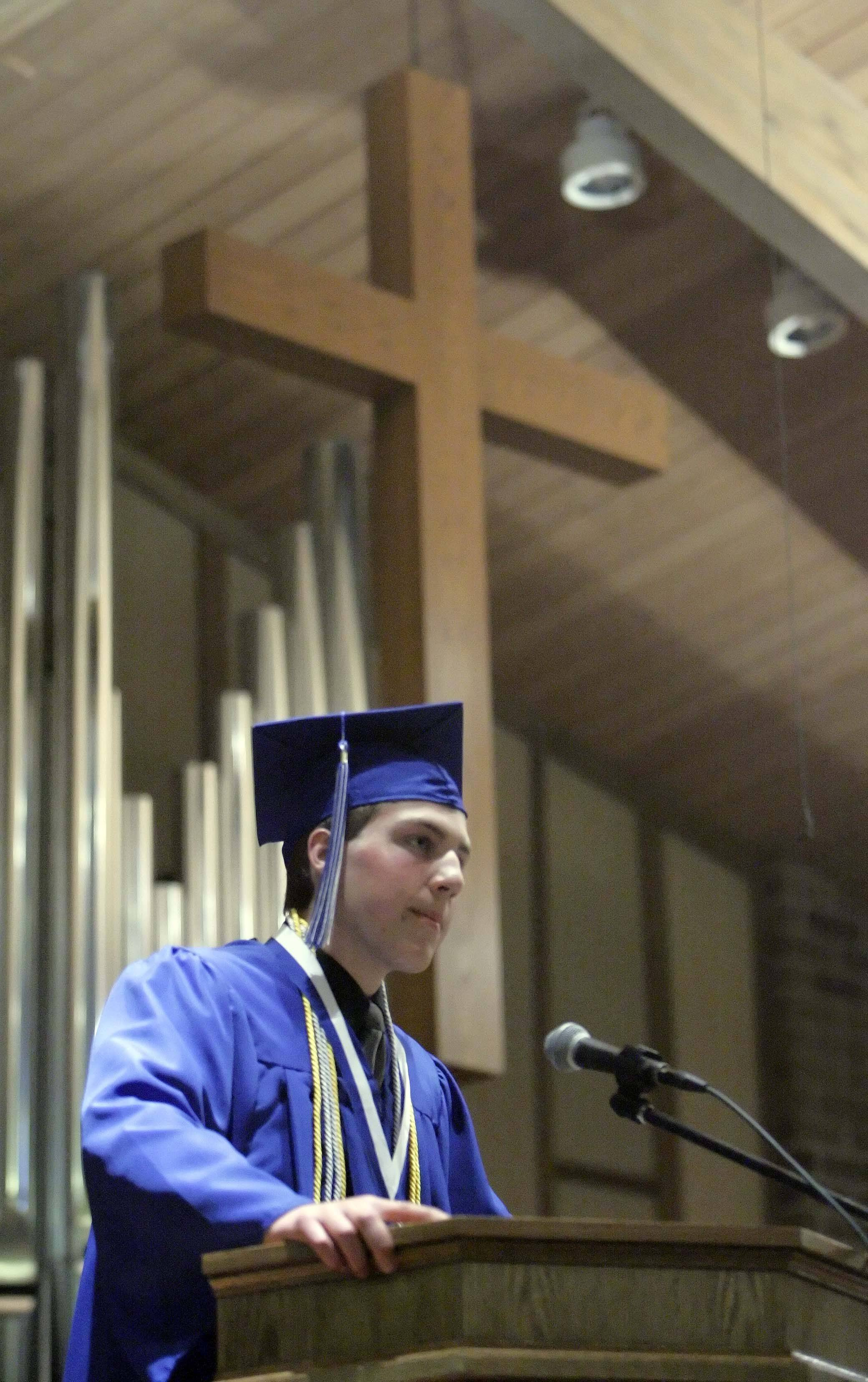 Valedictorian Luke Carani delivers his address during the Westminster Christian High School graduation Friday, May 27, 2011 at the Elgin school.