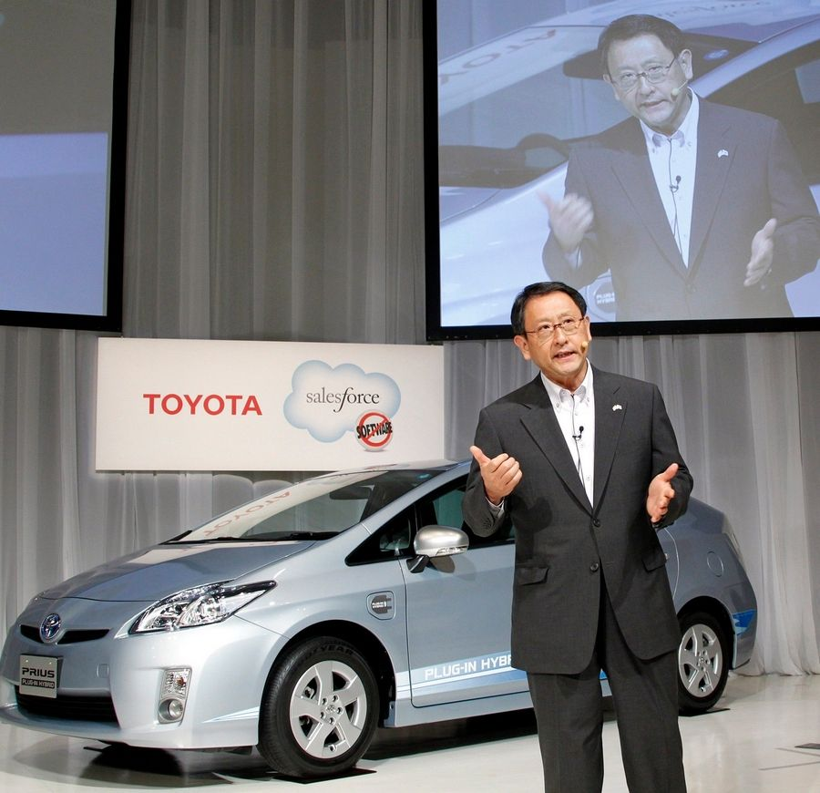 "Toyota Motor Corp. President Akio Toyoda speaks during a press conference to launch ""Toyota Friend,"" a private social network for Toyota owners that works similar to tweets on Twitter."
