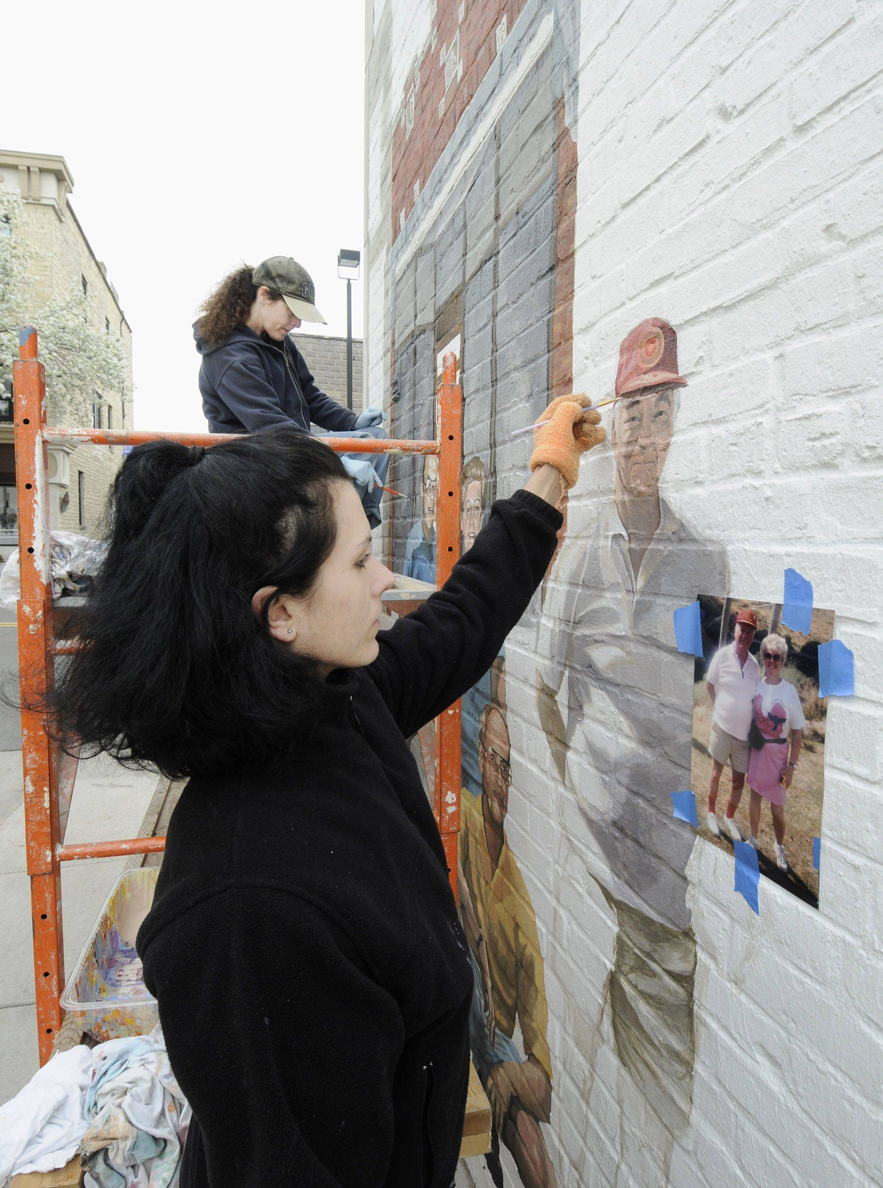 "The late Jim Wehrli is one of the first Naperville residents to be painted into ""Naperville Loves a Parade"" by muralist Adela Vystejnova in downtown Naperville."