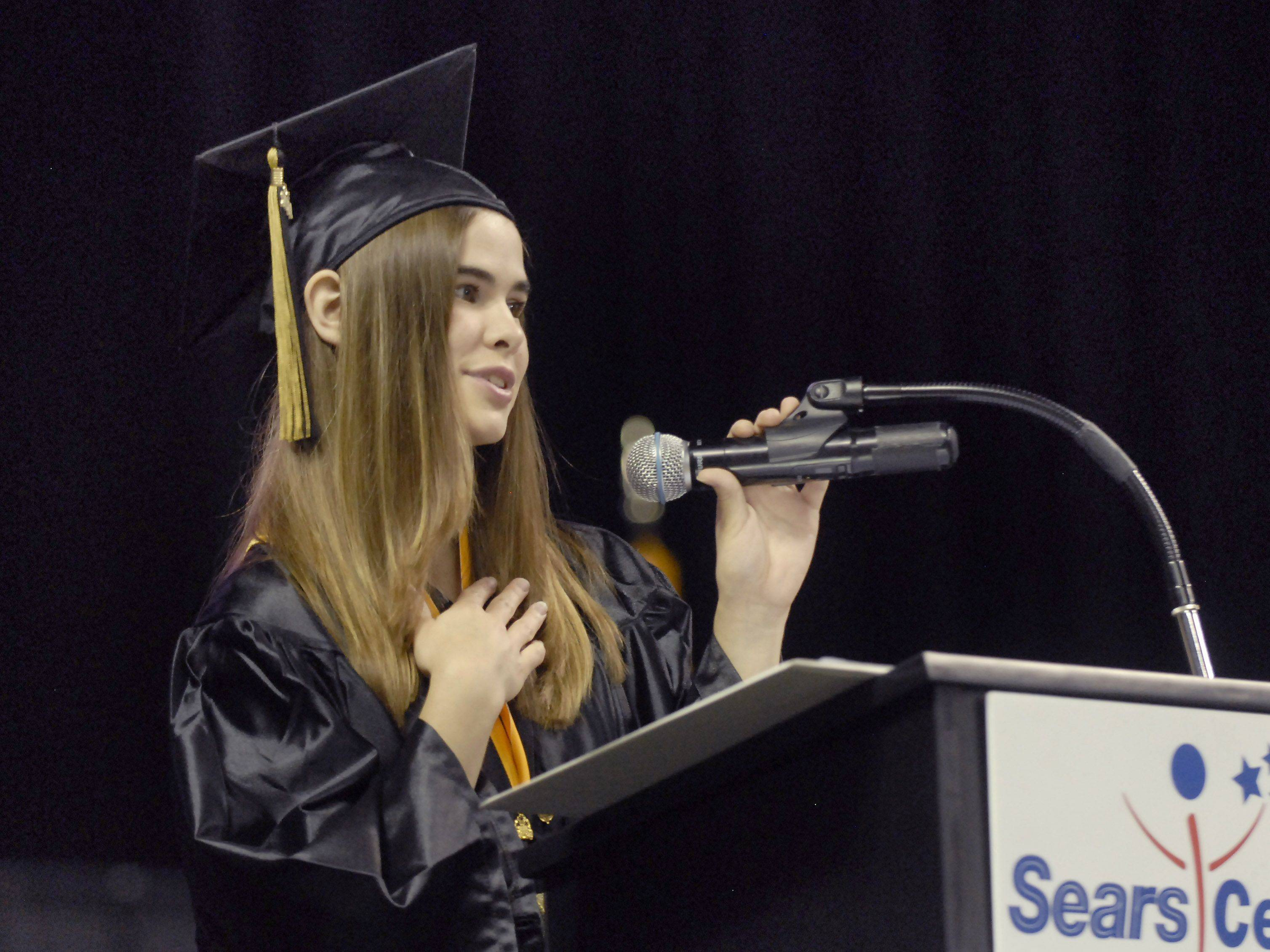 Valedictorian Emily Peterson talks of becoming an adult at the Streamwood High School graduation on May 28th at the Sears Centre.