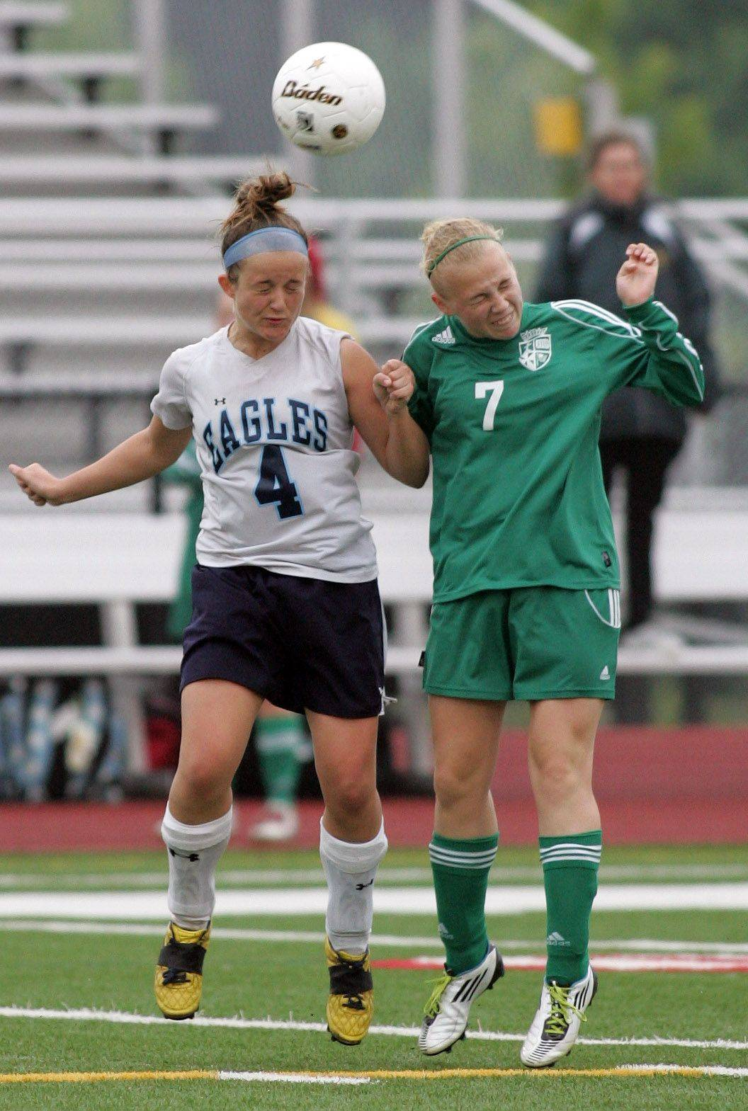 Justine Burgraff, left of Willows Academy and Kimmy Smith, right, of St. Edward in the Class 1A state soccer third place match in Naperville on Saturday.