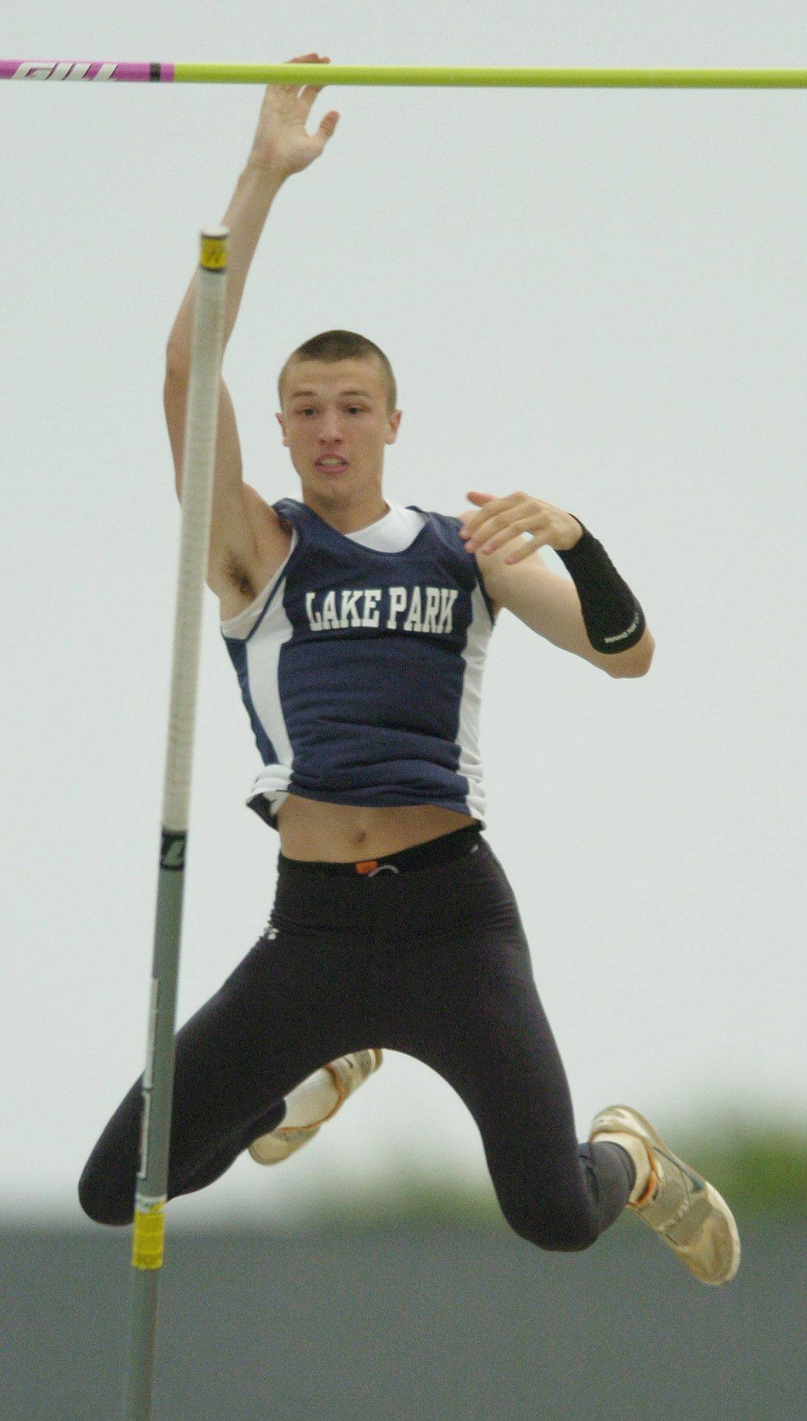 Lake Park's Zach Ziemek clears the bar in the class 3A pole vault during the boys state track finals in Charleston Friday.