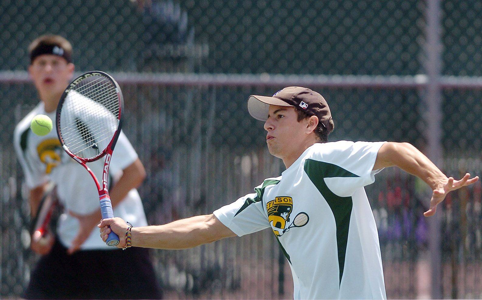 Stevenson's Ross Putterman, left, and David Packowitz, here competing in Friday's semifinals, rolled to the doubles state championship on Saturday.