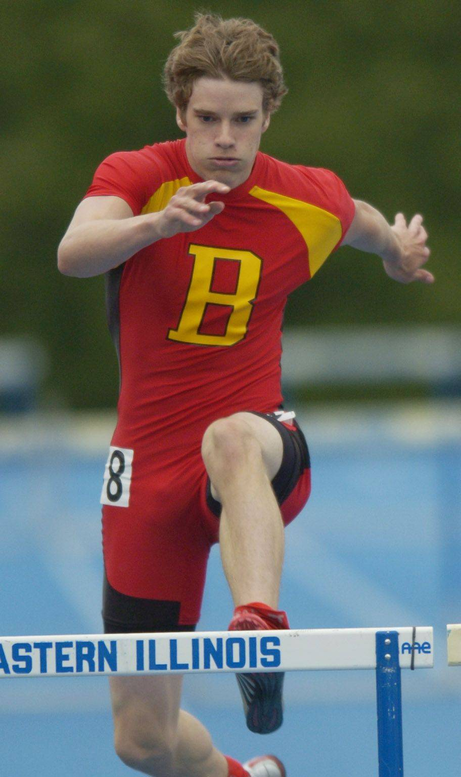 Batavia's David Voland competes in the 300-meter intermediate hurdles during the boys state track finals in Charleston Saturday.