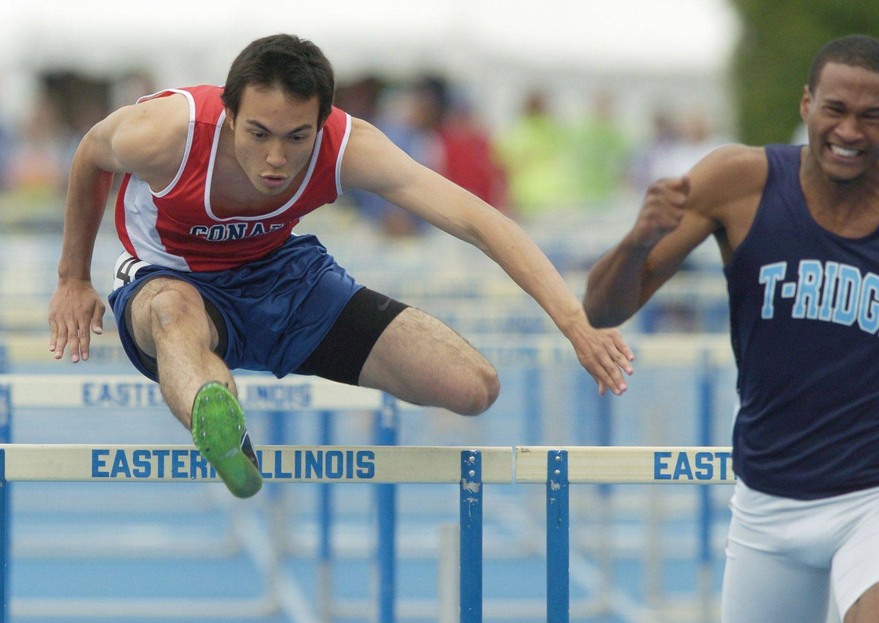 Conant's Ben Bowers competes in the 110-meter high hurdles during the boys state track finals in Charleston Saturday.