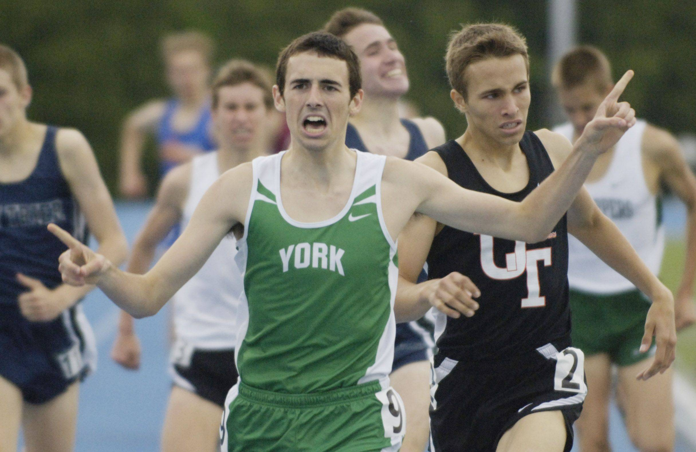 Yorks' Jack Driggs wins the class 3A 1,600-meter run during the boys state track finals in Charleston Saturday.