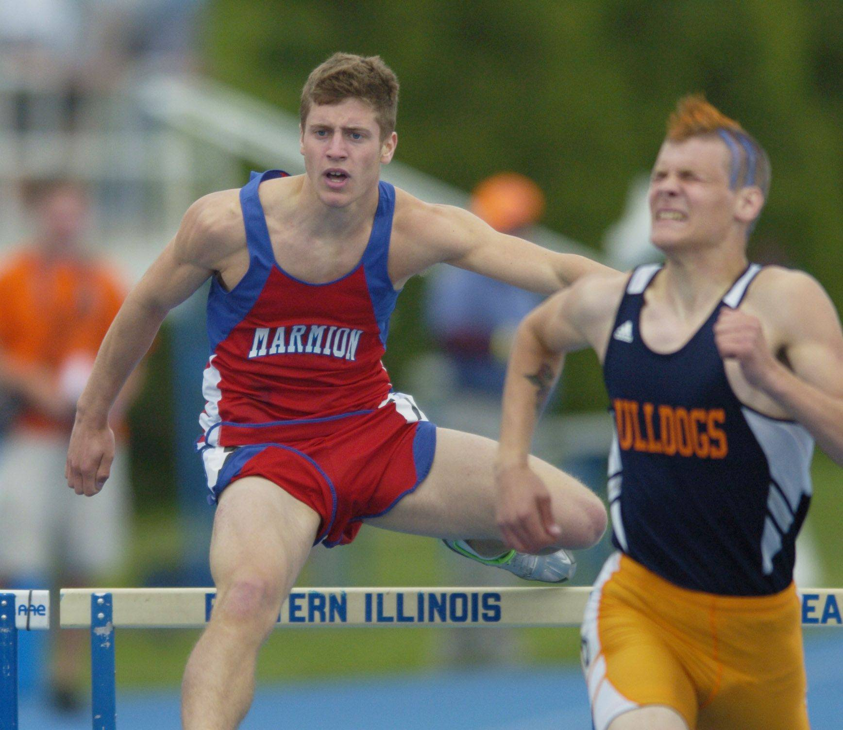 Eddy Grahovec of Marmion Academy competes in the class 2A 300-meter intermediate hurdles during the boys state track finals in Charleston Saturday.