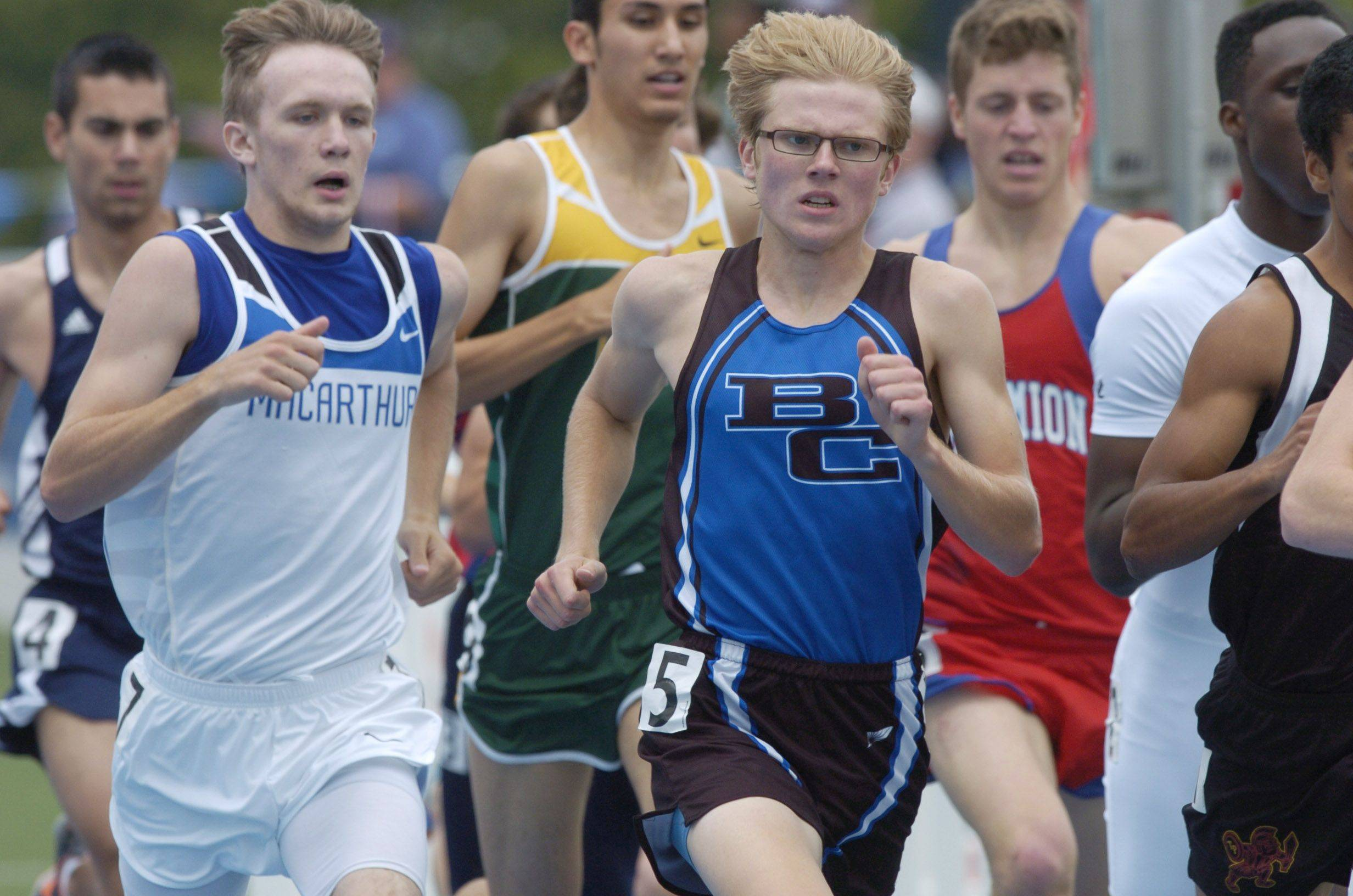 Burlington Central's Clint Kliem competes in the class 2A 800-meter run during the boys state track finals in Charleston Saturday.