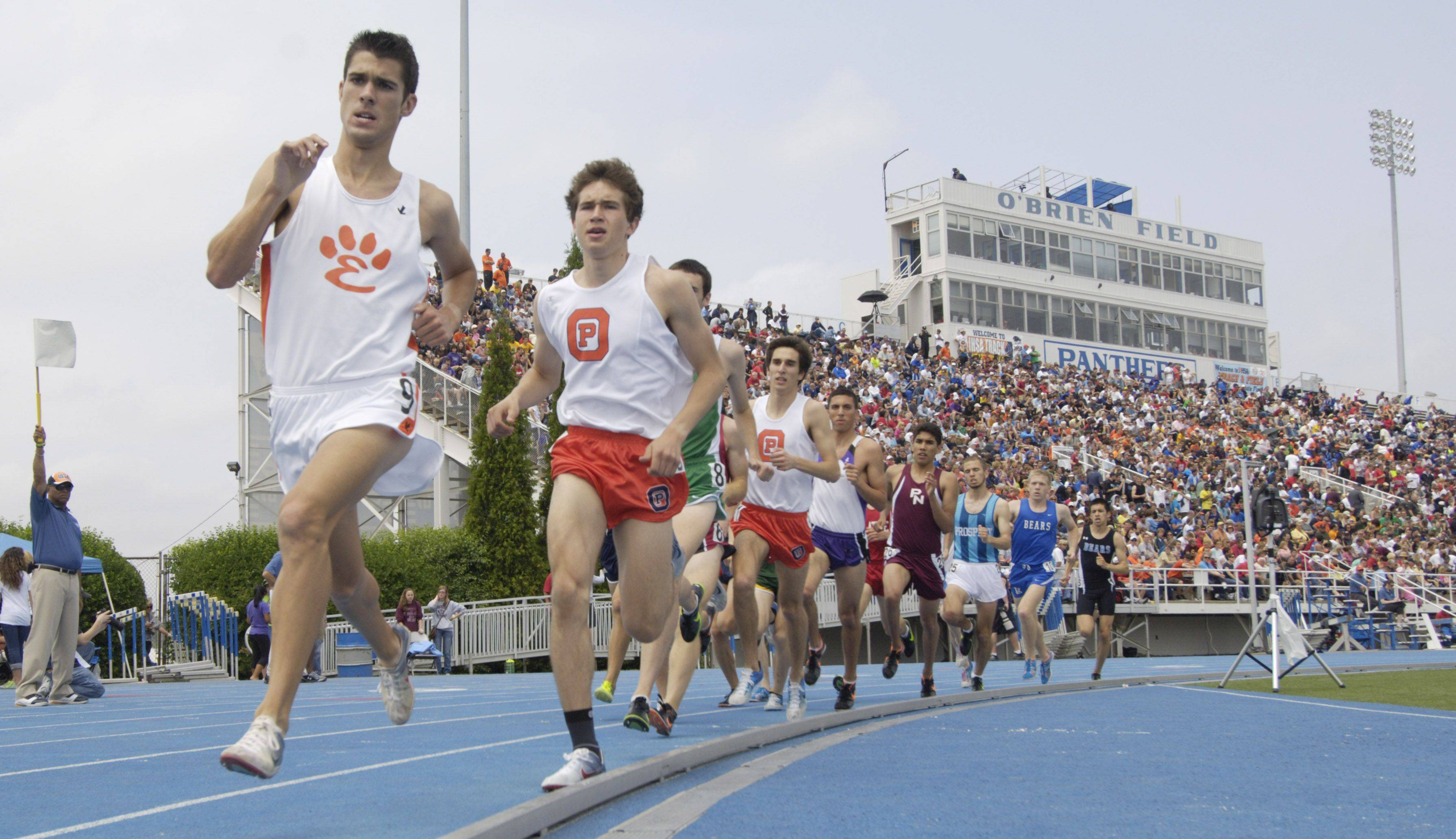 Runners compete in the class 3A 3,200-meter run during the boys state track finals in Charleston Saturday.
