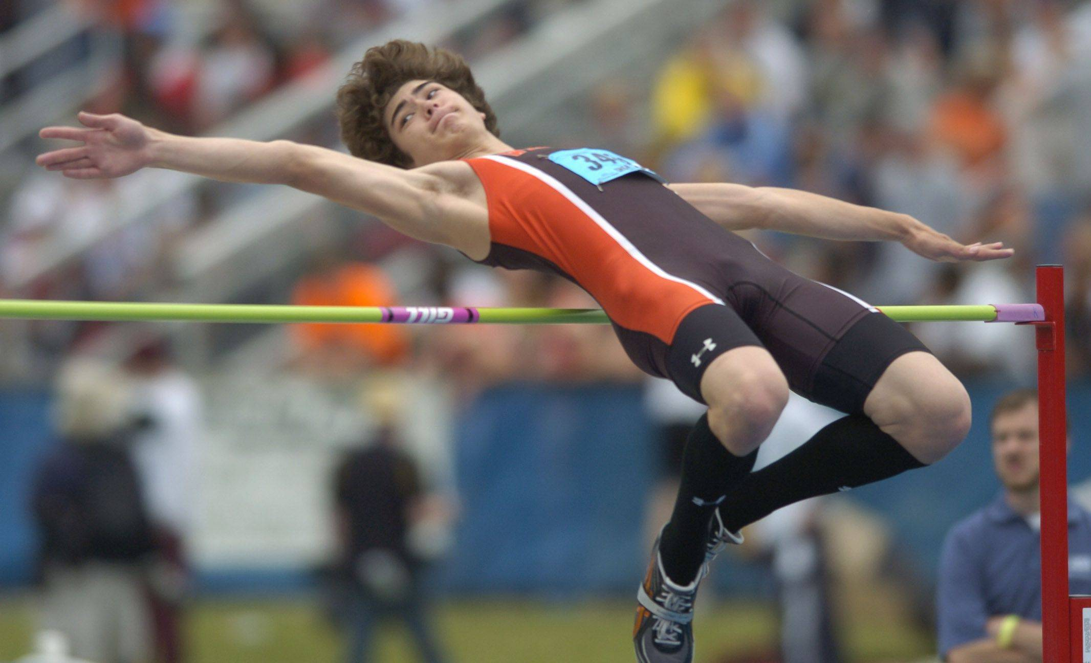 Libertyville's Jeremy Birck clears the bar in the class 3A high jump during the boys state track finals in Charleston Saturday.