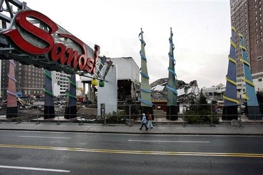 In this Nov. 14, 2007 file photo, the site of the demolished Sands Hotel and Casino is seen in Atlantic City, N.J. Pinnacle Entertainment scrapped their plans to build a mega- casino on the site and is trying to sell the land where it would have gone.
