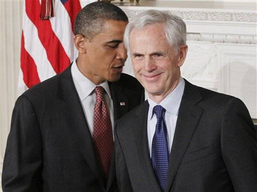 President Barack Obama stands with John Bryson, his nominee to be the next Commerce Secretary.