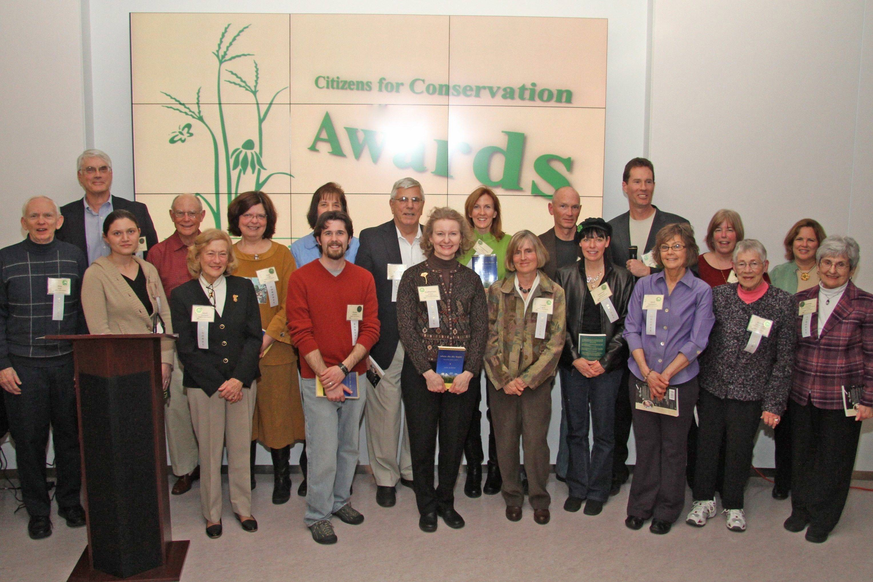 Citizens for Conservation Mighty Oak Award winners at the organizations 40th annual anniversary meeting.